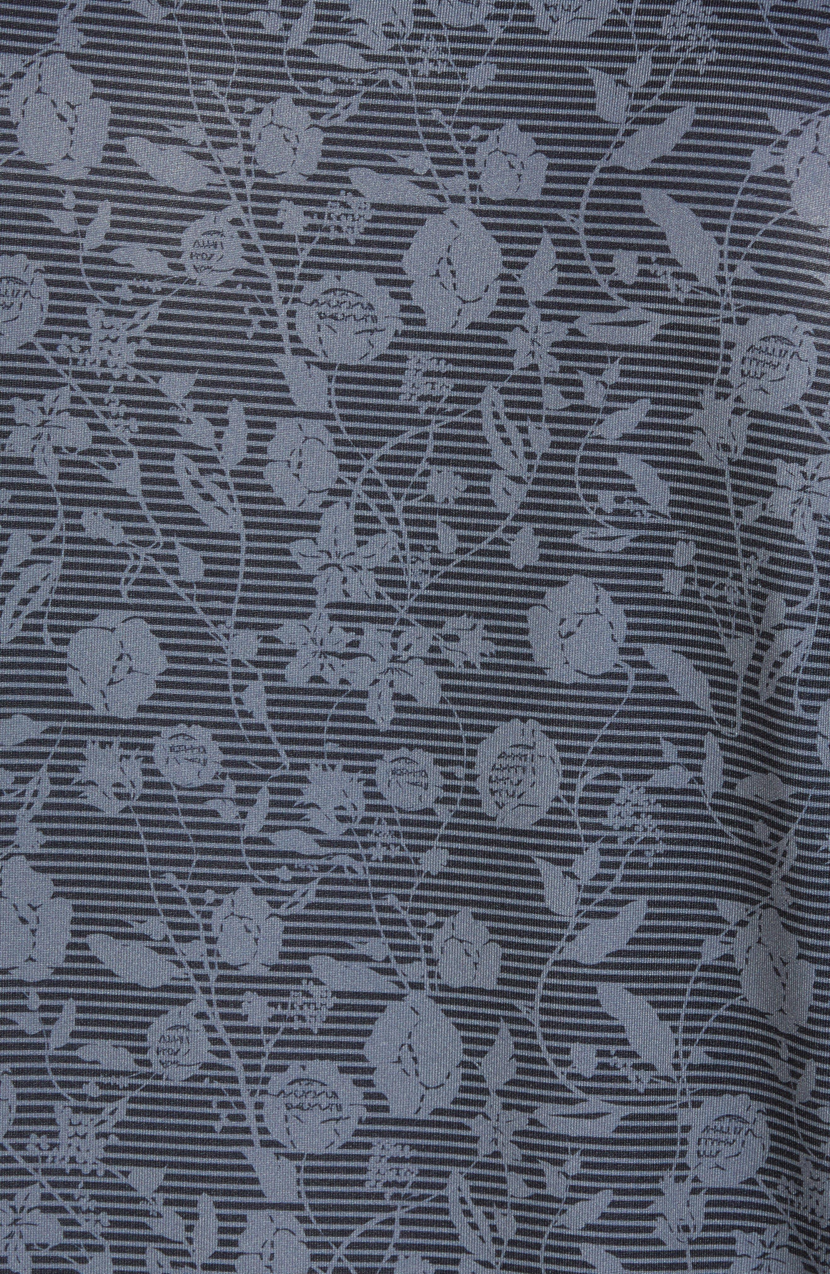 DryTec Floral Print Polo,                             Alternate thumbnail 5, color,                             BLACK