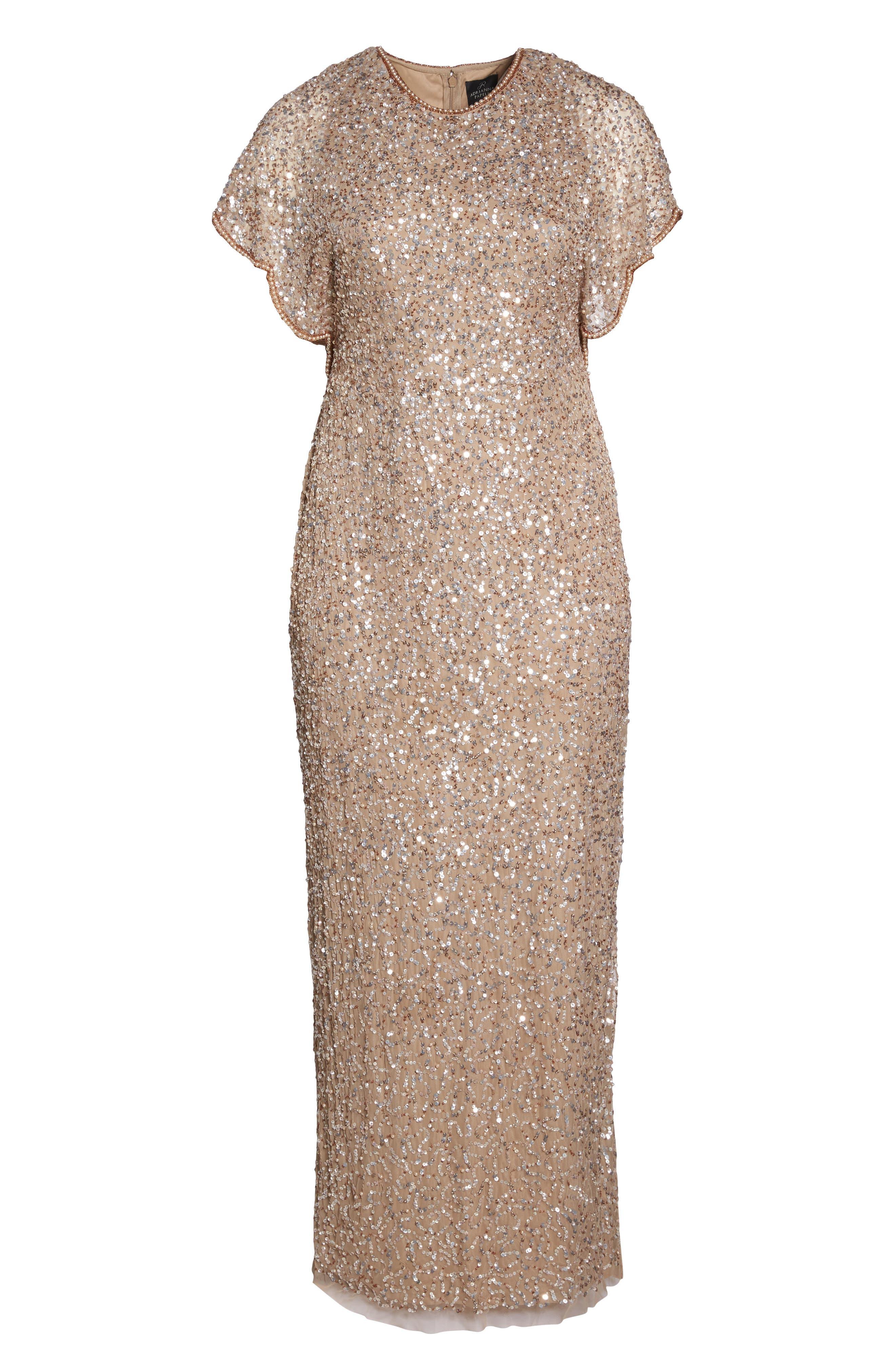 Flutter Sleeve Beaded Sequin Gown,                             Alternate thumbnail 6, color,                             710