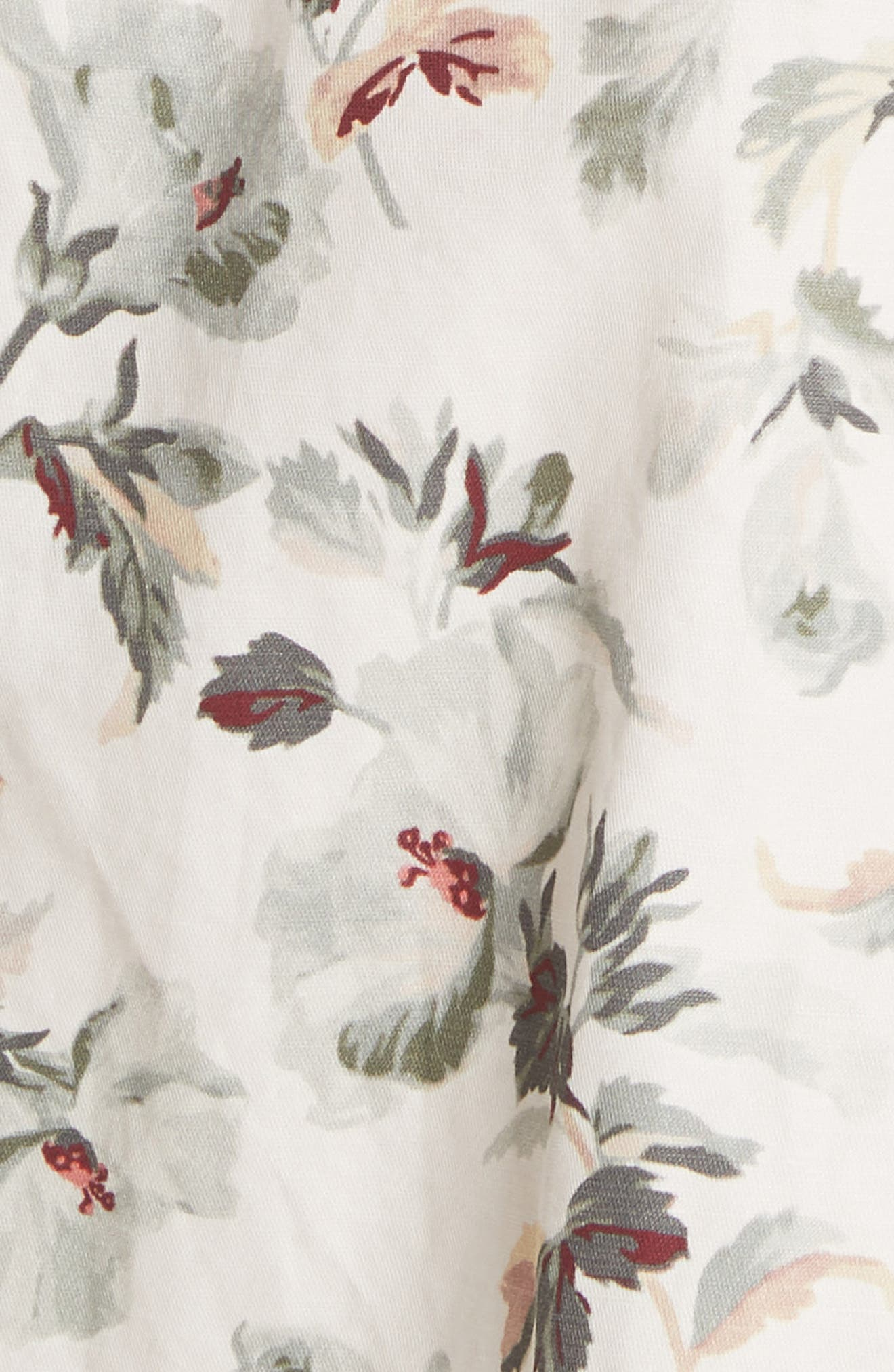 Puff Sleeve Floral Cotton Linen Dress,                             Alternate thumbnail 5, color,                             905