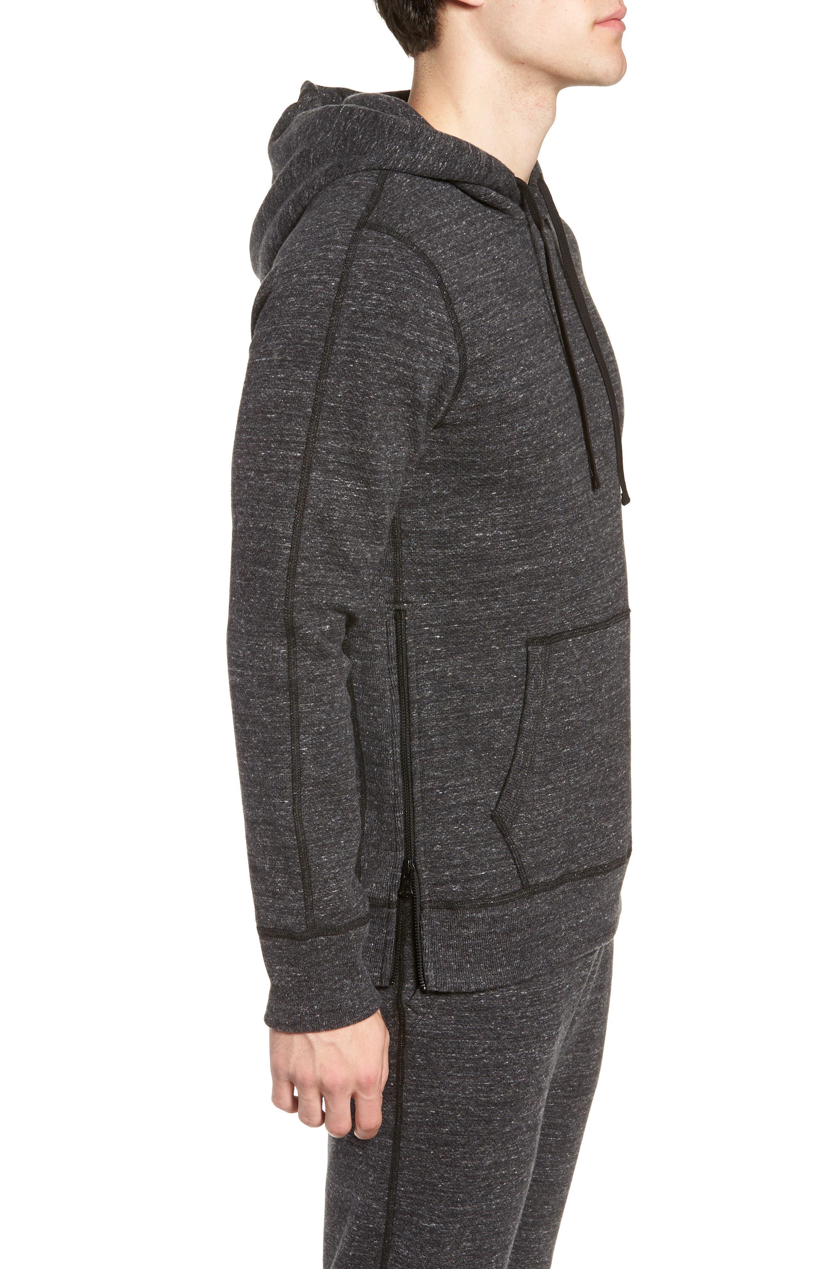 Trim Fit Side Zip Hooded Sweatshirt,                             Alternate thumbnail 3, color,                             020