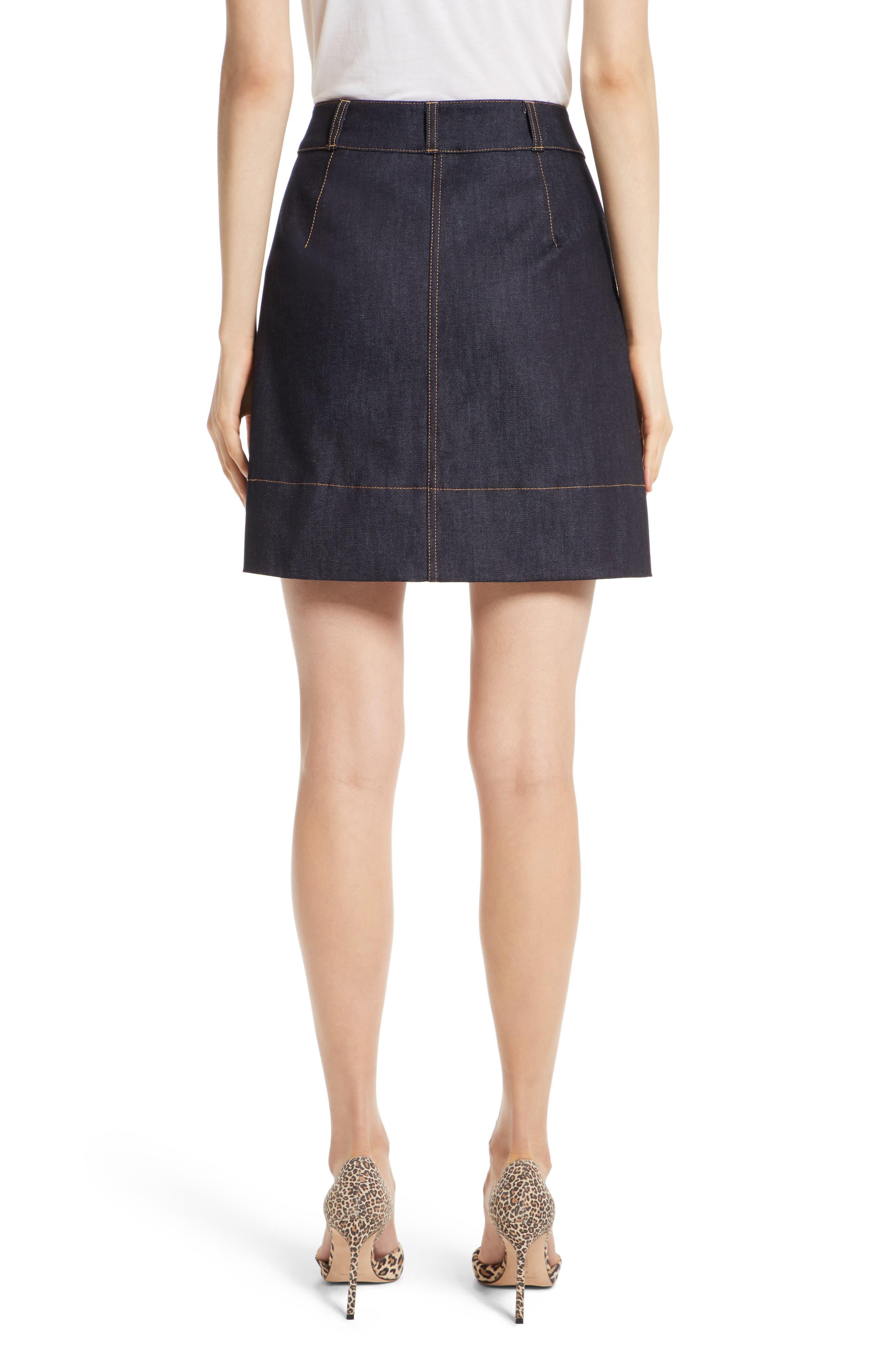 poppy denim skirt,                             Alternate thumbnail 2, color,                             429