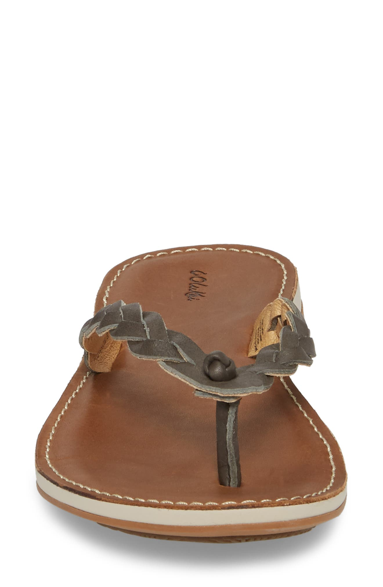 Kahiko Flip-Flop,                             Alternate thumbnail 4, color,                             SLATE/ TAN LEATHER