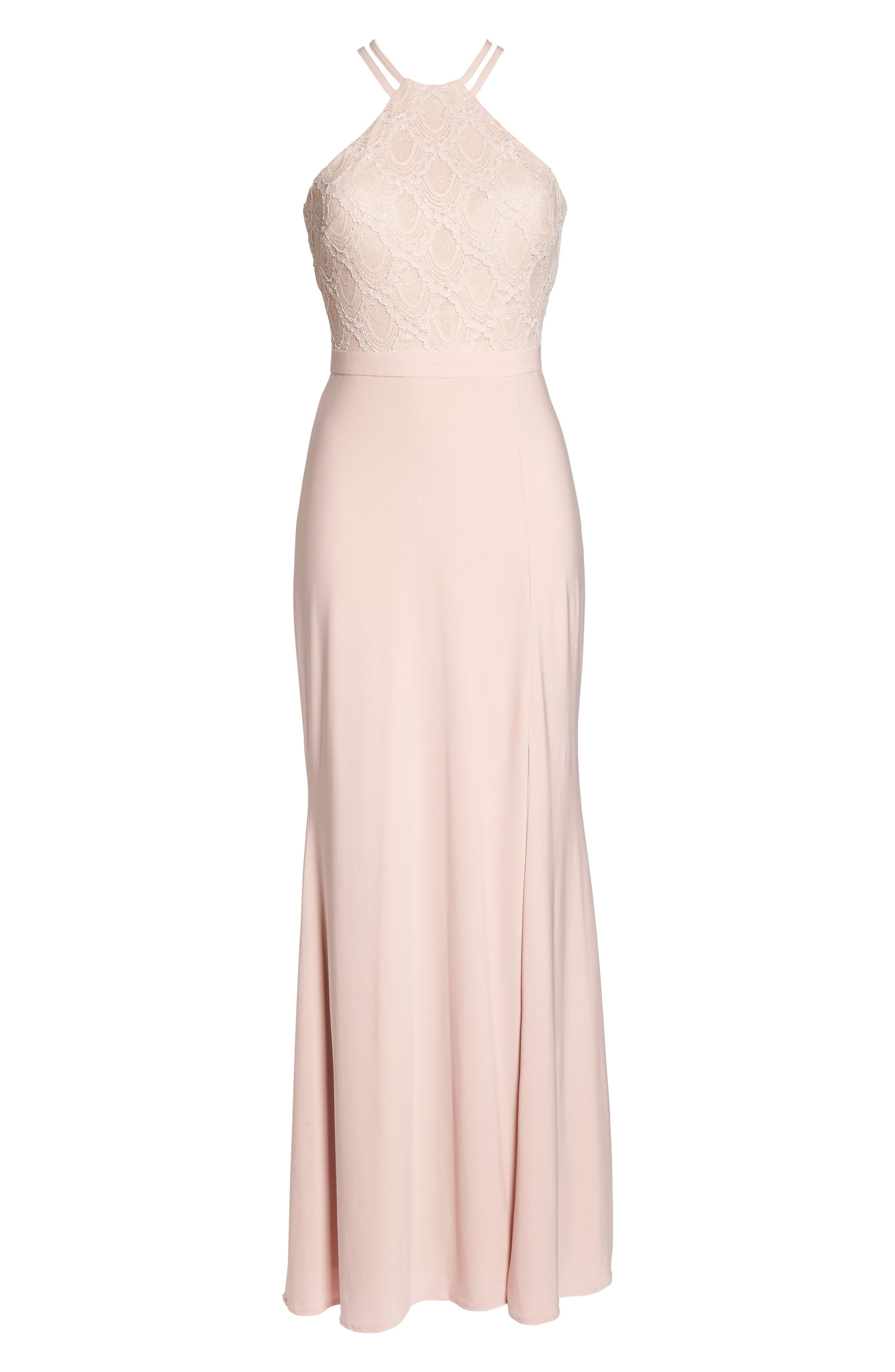 Lace Cutaway Bodice Gown,                             Alternate thumbnail 6, color,                             BLUSH / NUDE