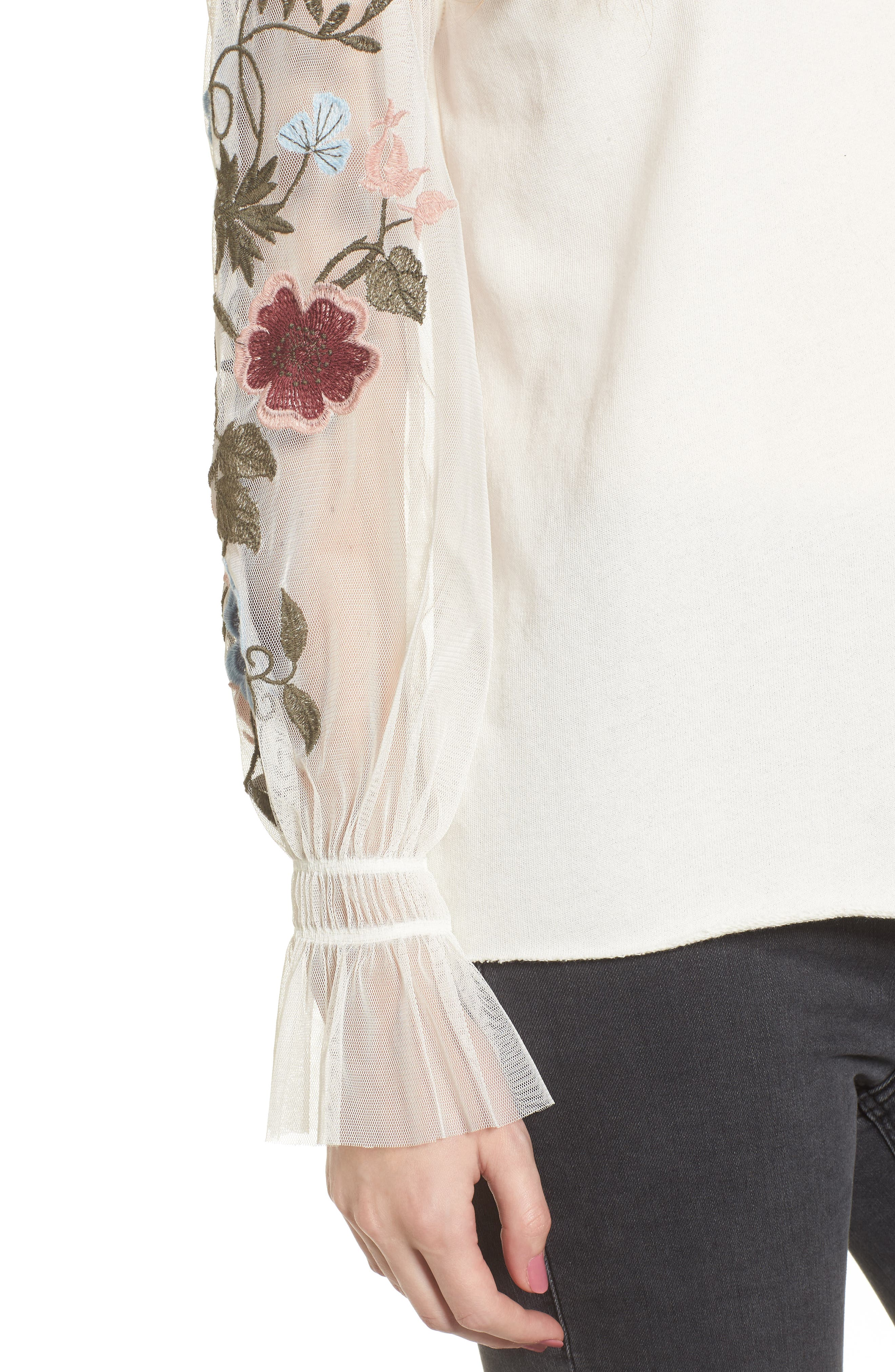 Embroidered Mesh Sleeve Tee,                             Alternate thumbnail 4, color,                             900