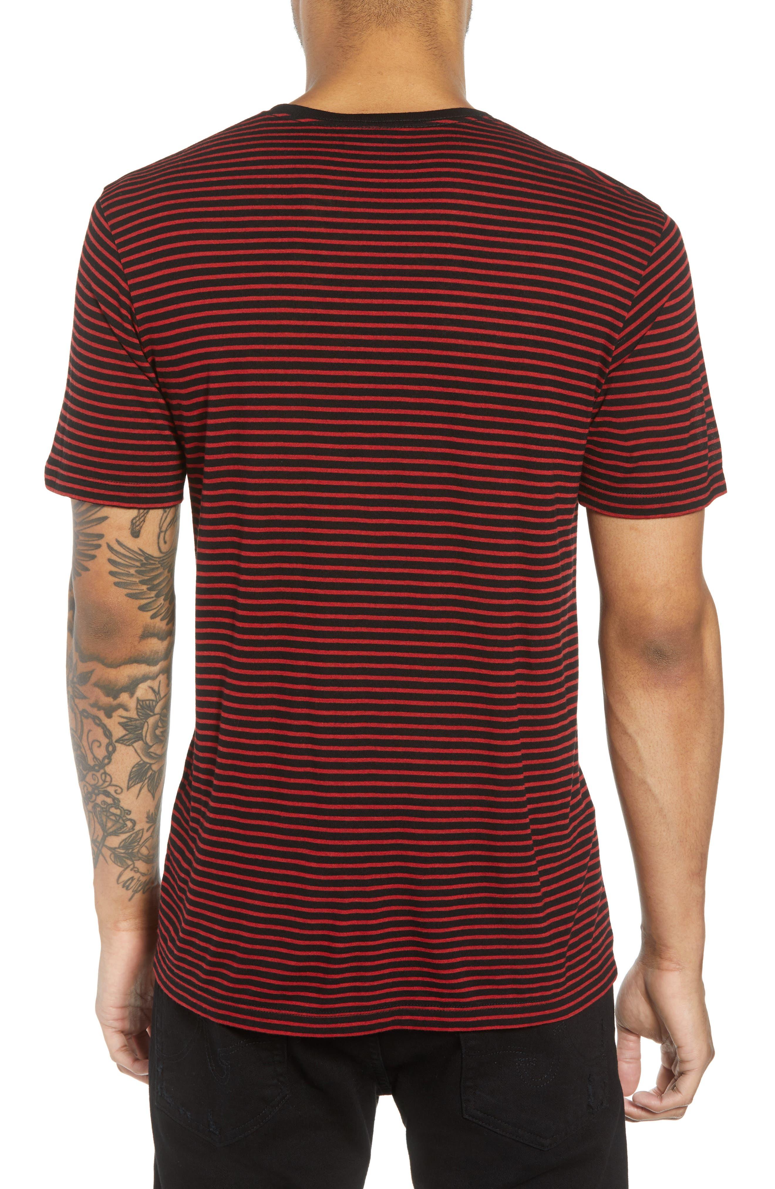 Skull Appliqué Striped Wool Blend T-Shirt,                             Alternate thumbnail 2, color,                             001