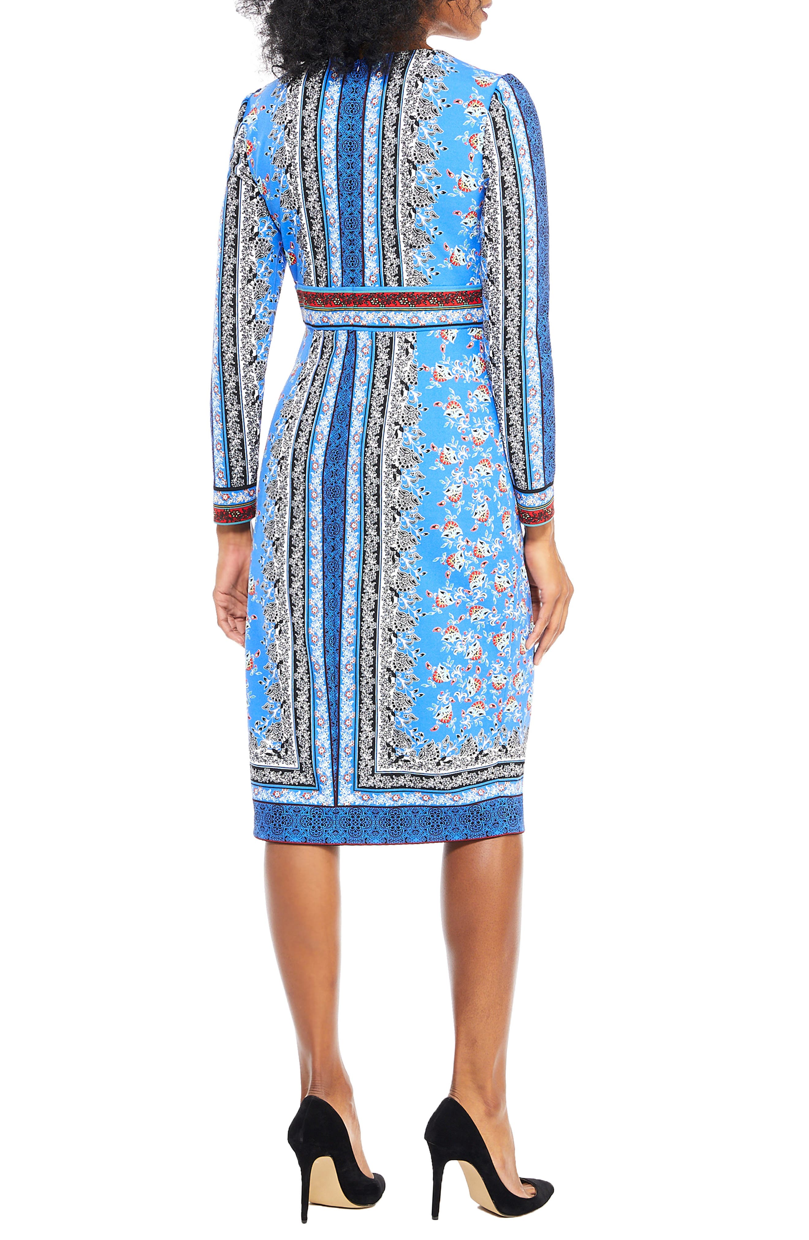 Paisley Puzzle Scuba Crepe Sheath Dress,                             Alternate thumbnail 2, color,                             BLUE/ RED APPLE