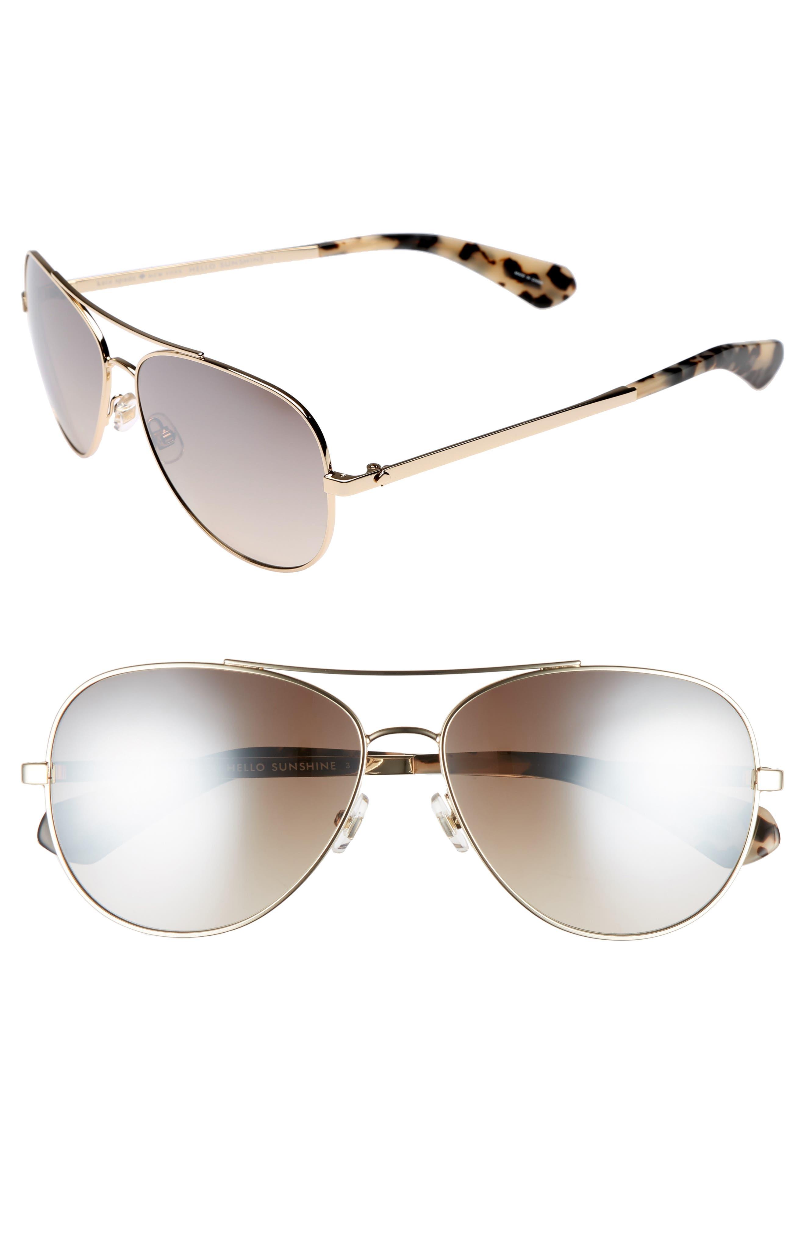 avaline 58mm aviator sunglasses,                         Main,                         color, GOLD HAVANA