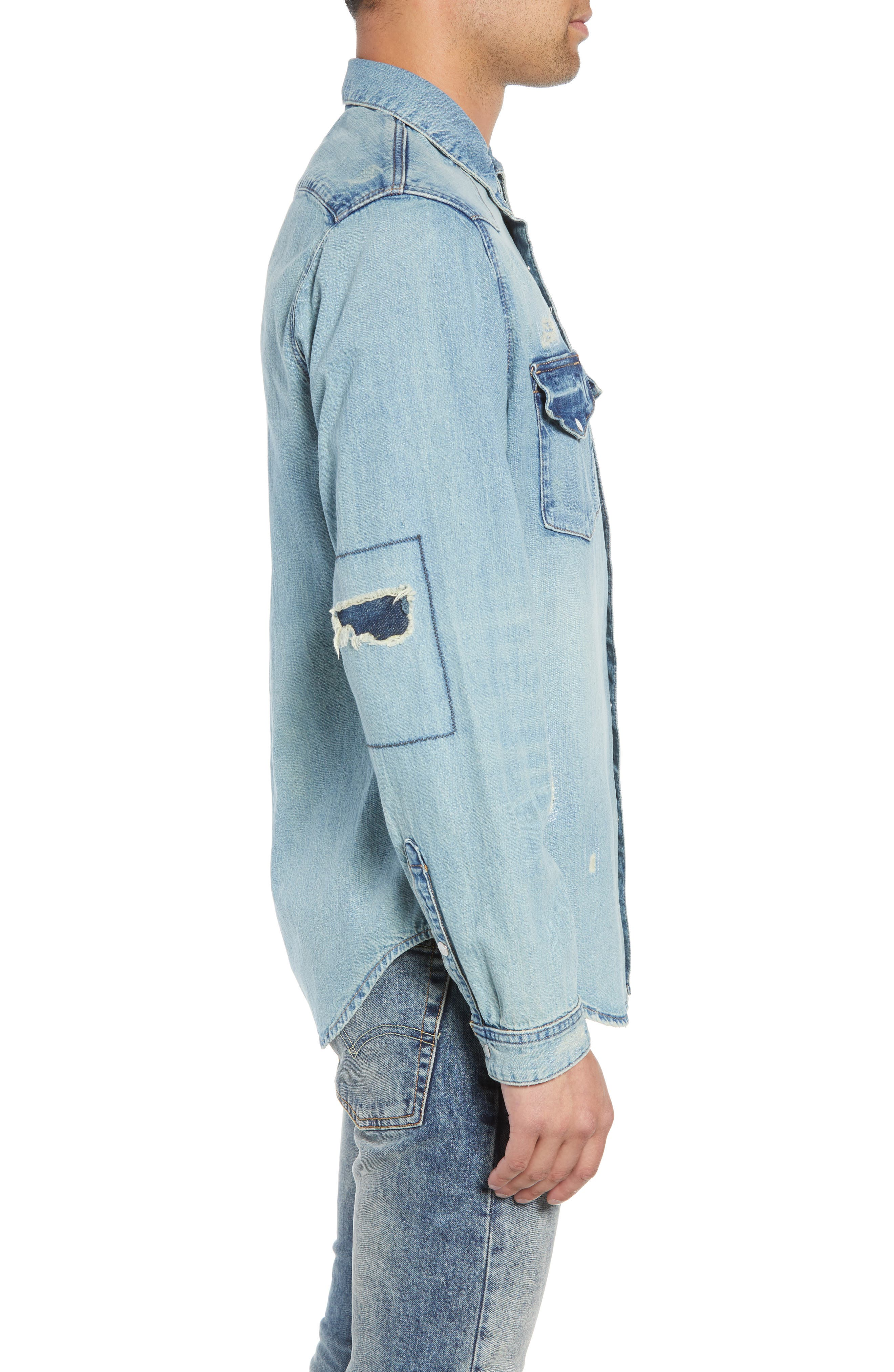 Western Denim Sport Shirt,                             Alternate thumbnail 4, color,                             450