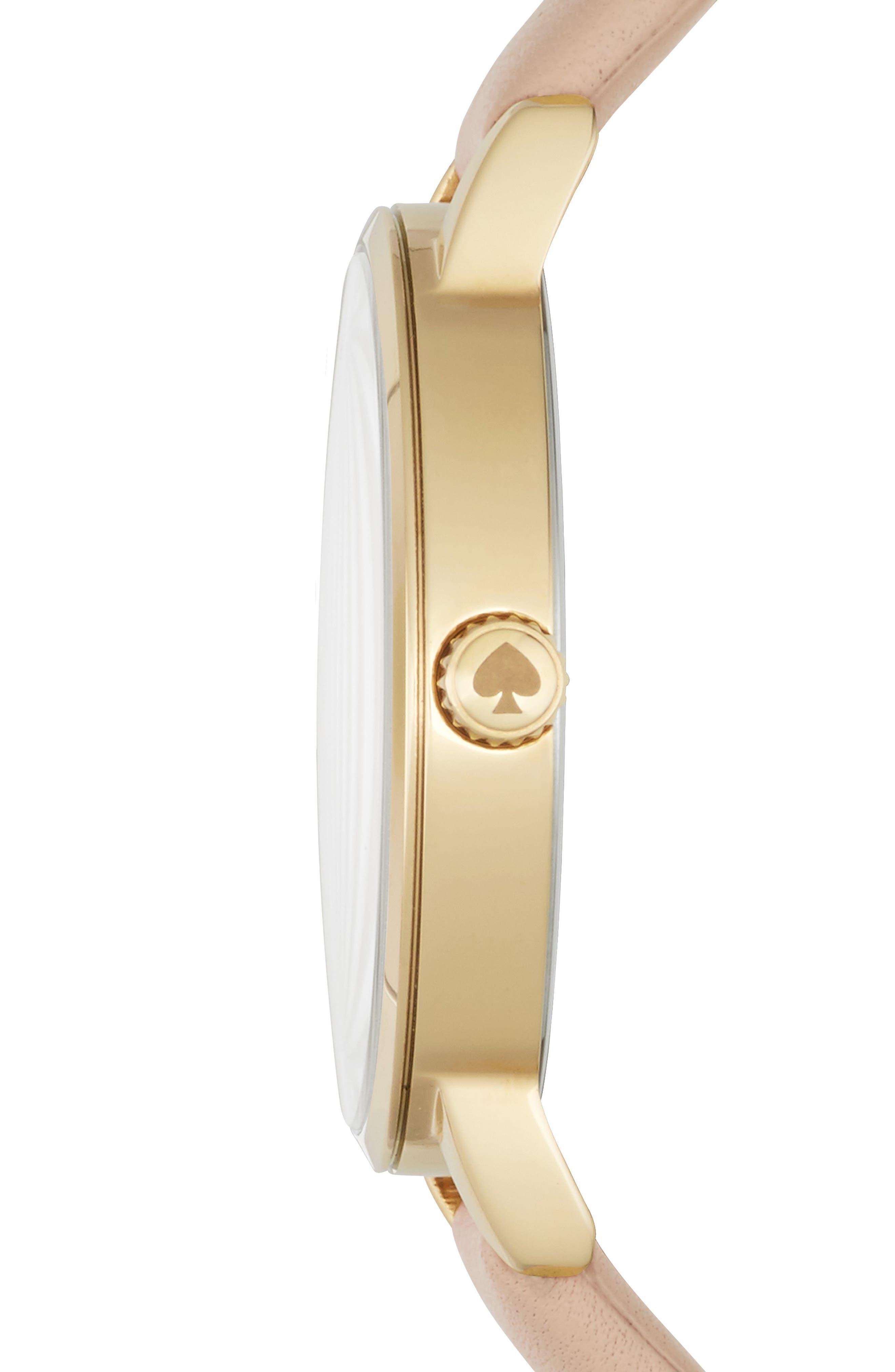 'metro' leather strap watch, 34mm,                             Alternate thumbnail 3, color,                             VACHETTA/ SILVER