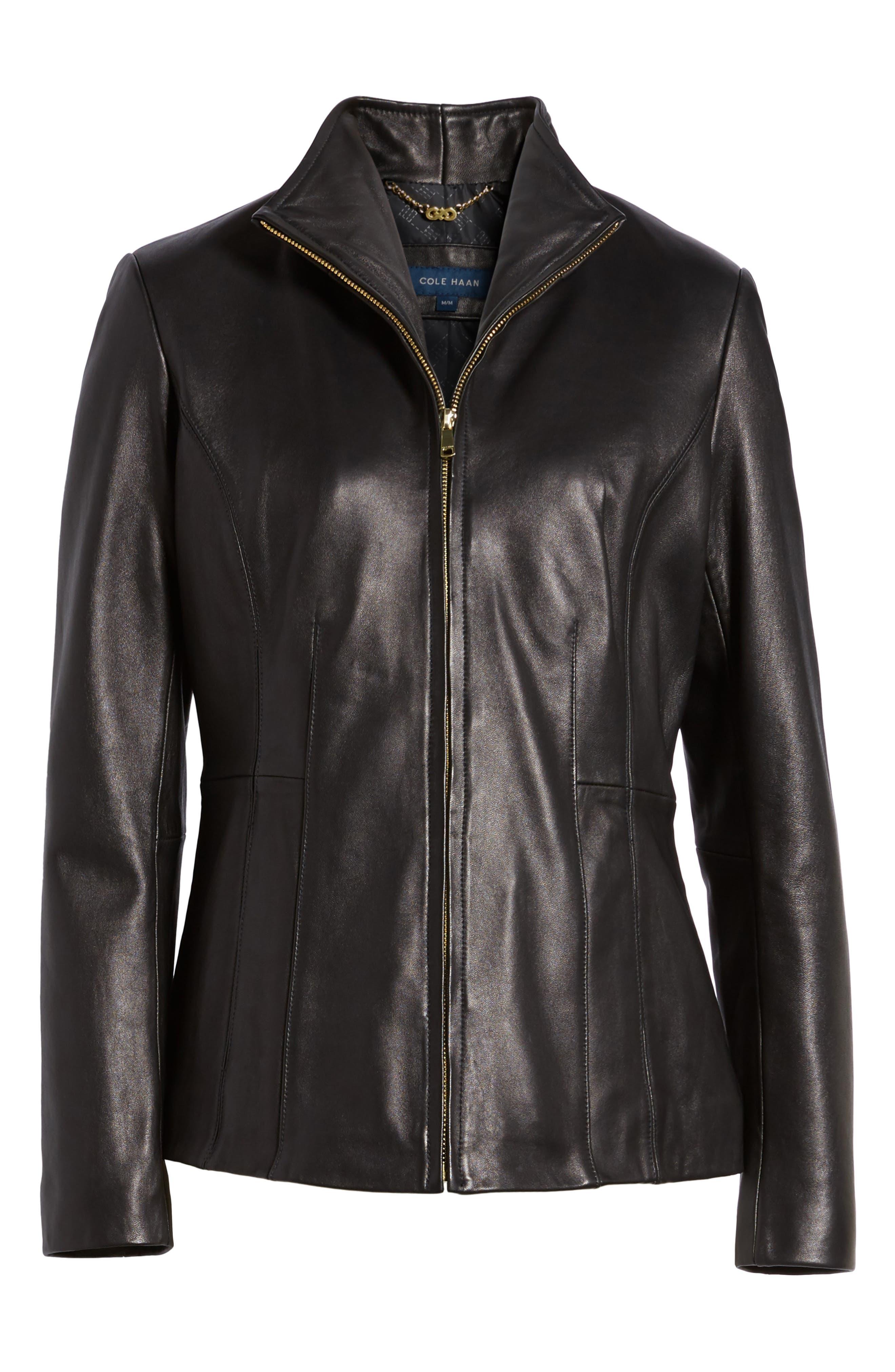 Leather Jacket,                             Alternate thumbnail 9, color,