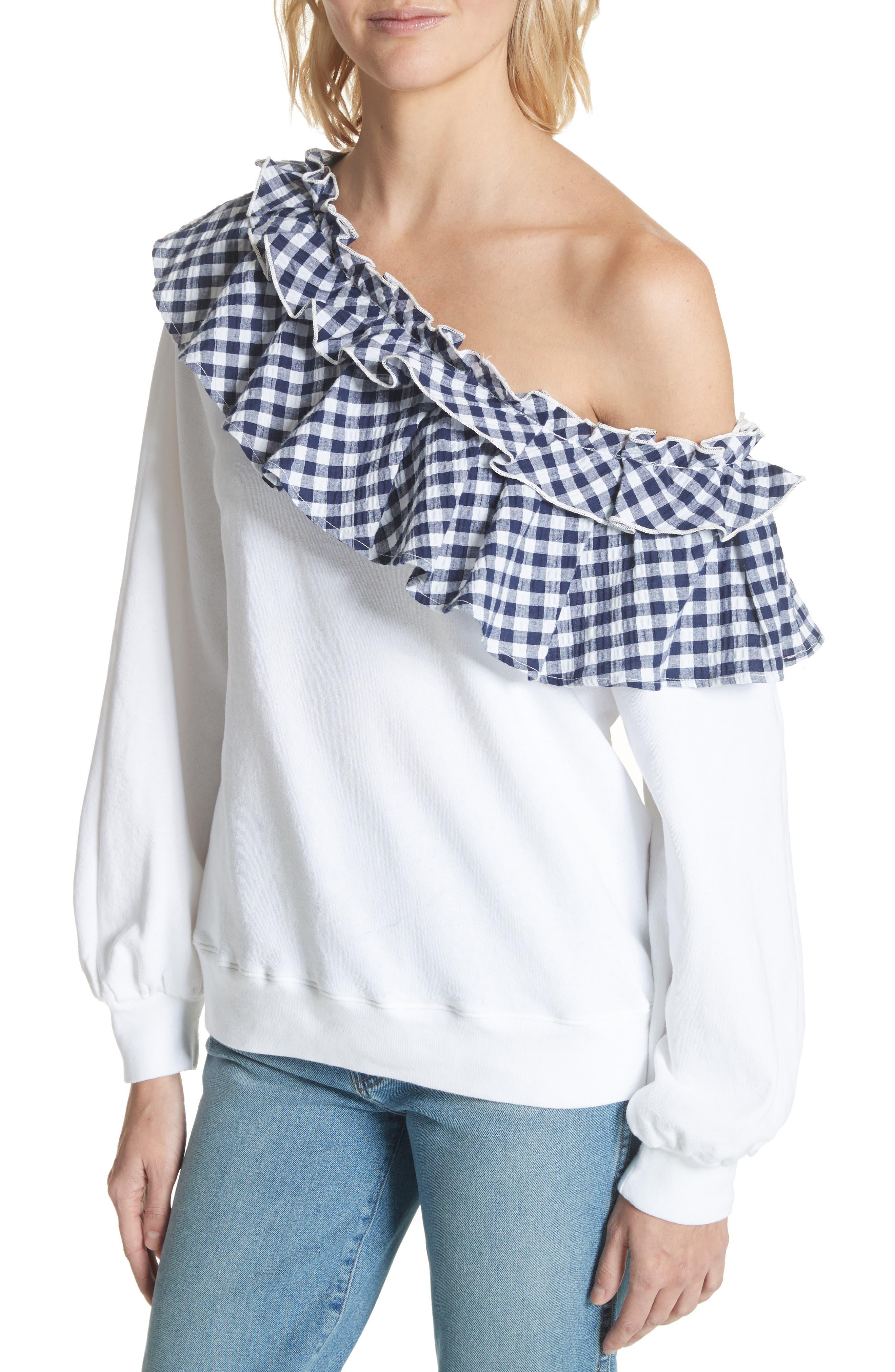 Gingham Ruffle One-Shoulder Sweatshirt,                             Alternate thumbnail 4, color,                             100