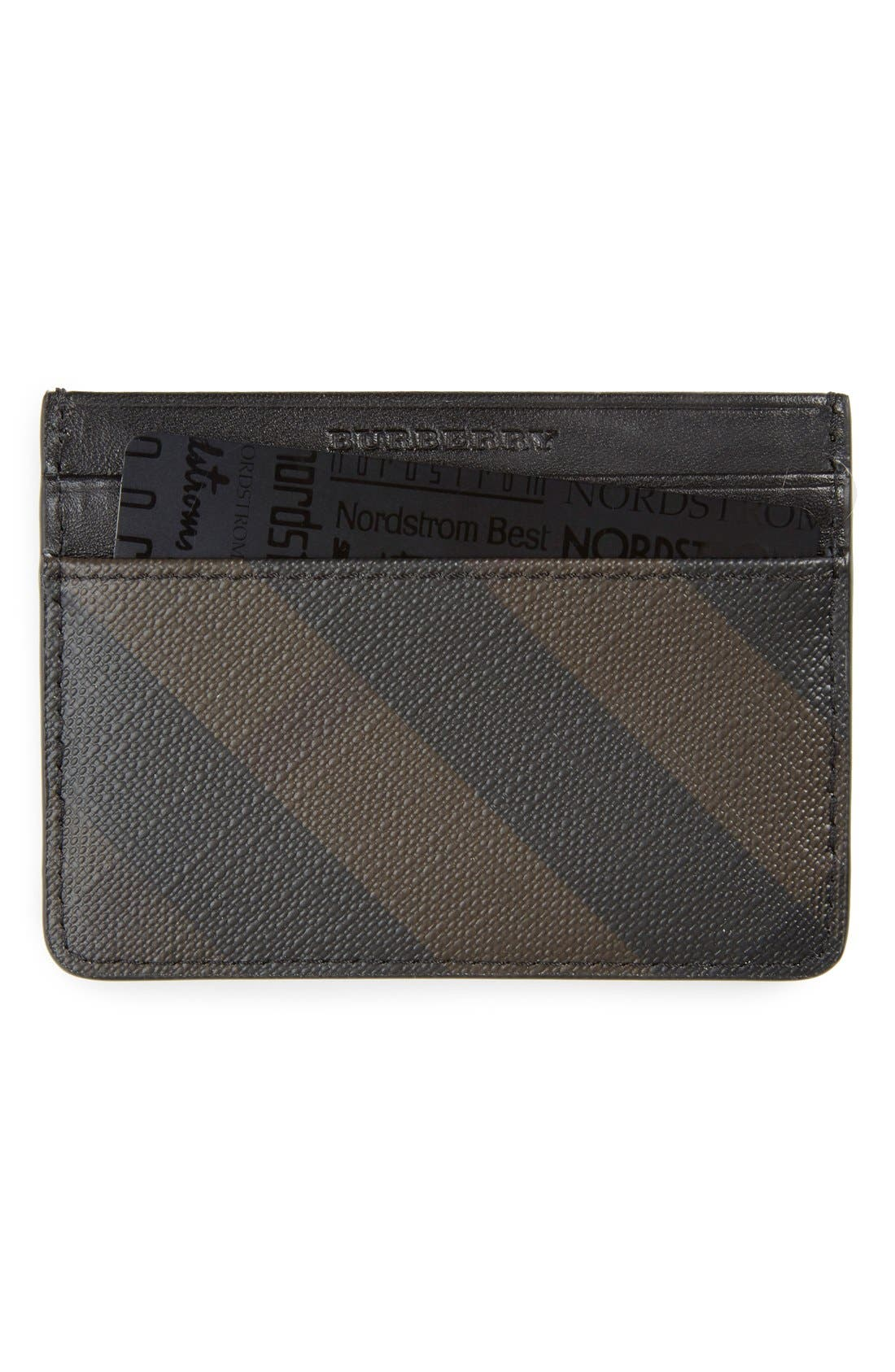 BURBERRY 'New London' Check Card Case, Main, color, 207