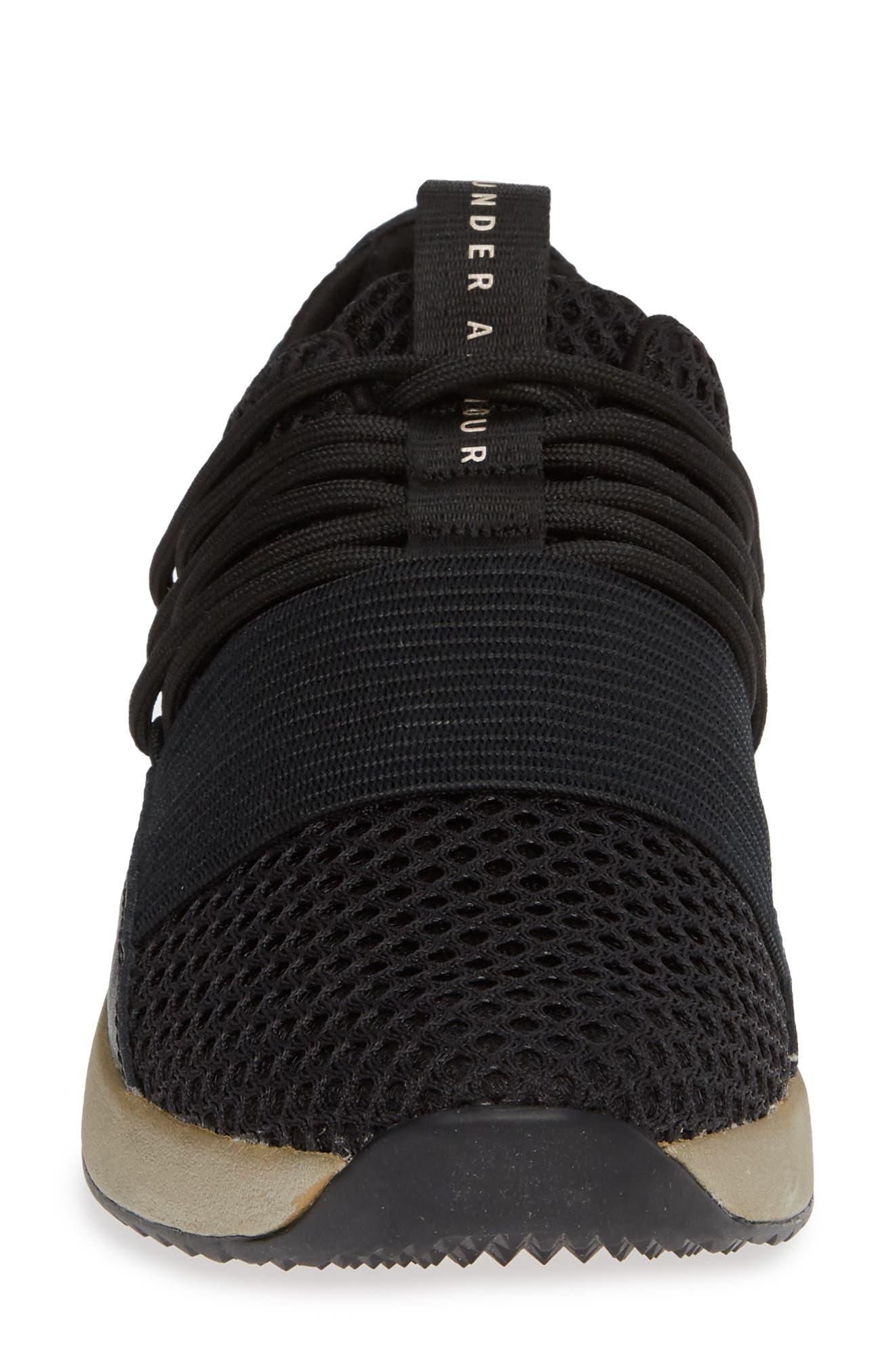 Breathe Lace X NM Sneaker,                             Alternate thumbnail 4, color,                             BLACK/ METALLIC FADED GOLD