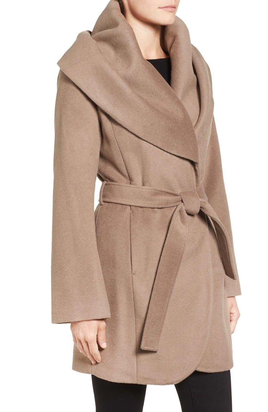 T Tahari Wool Blend Belted Wrap Coat,                             Alternate thumbnail 42, color,