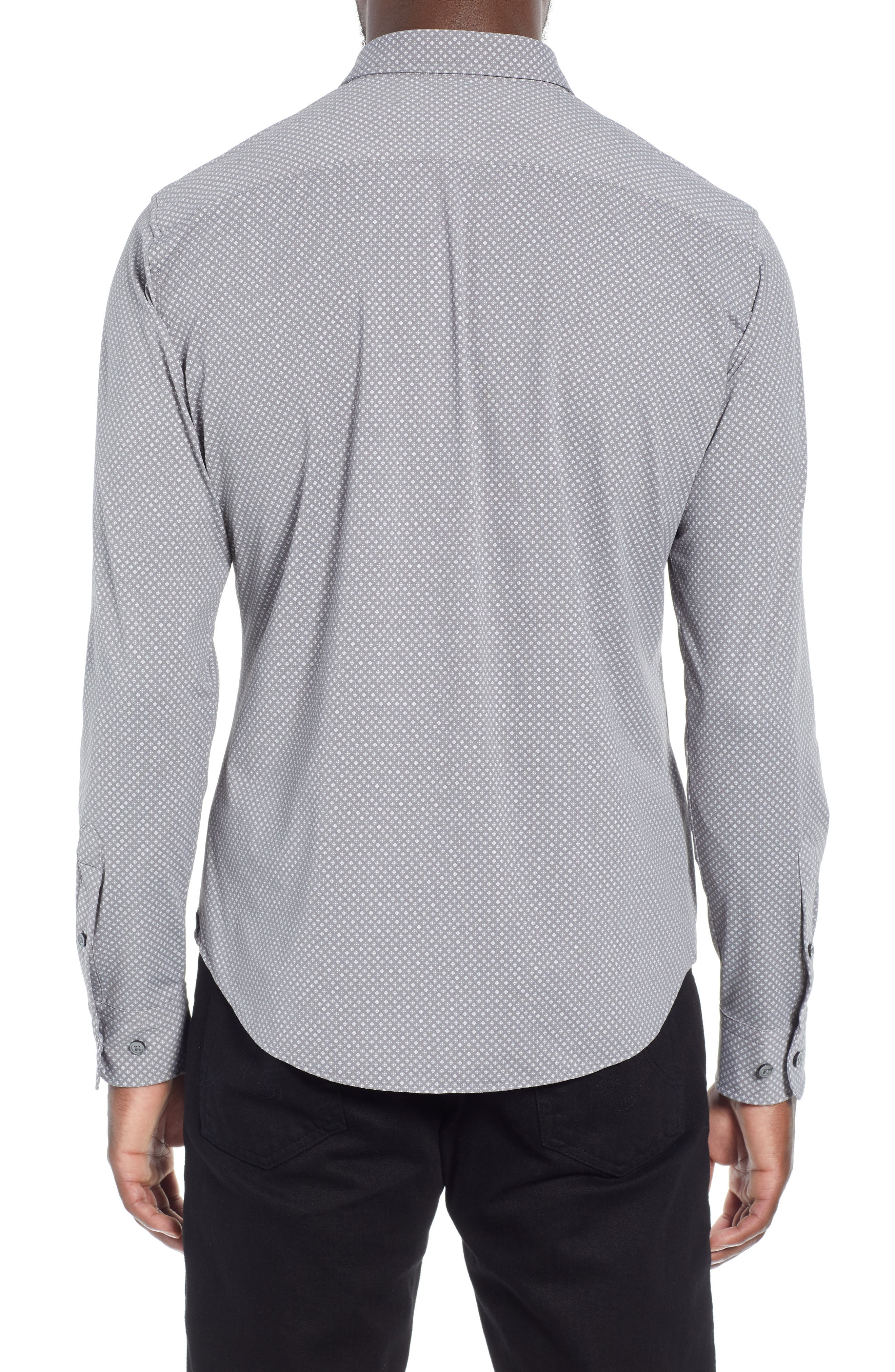 Robbie Extra Trim Fit Microprint Sport Shirt,                             Alternate thumbnail 3, color,                             GREY