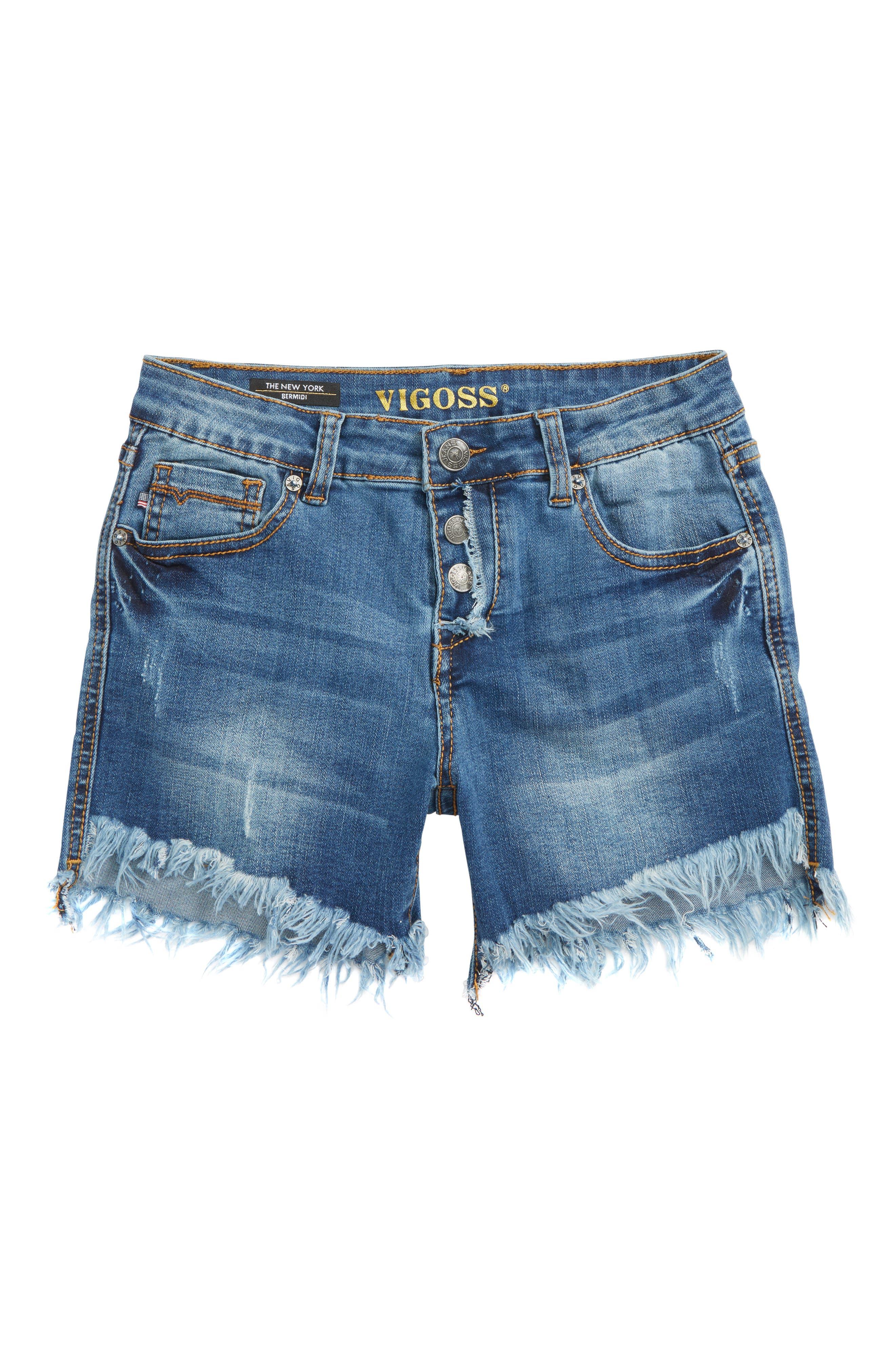 Bermidi Frayed Step Hem Shorts,                             Main thumbnail 1, color,