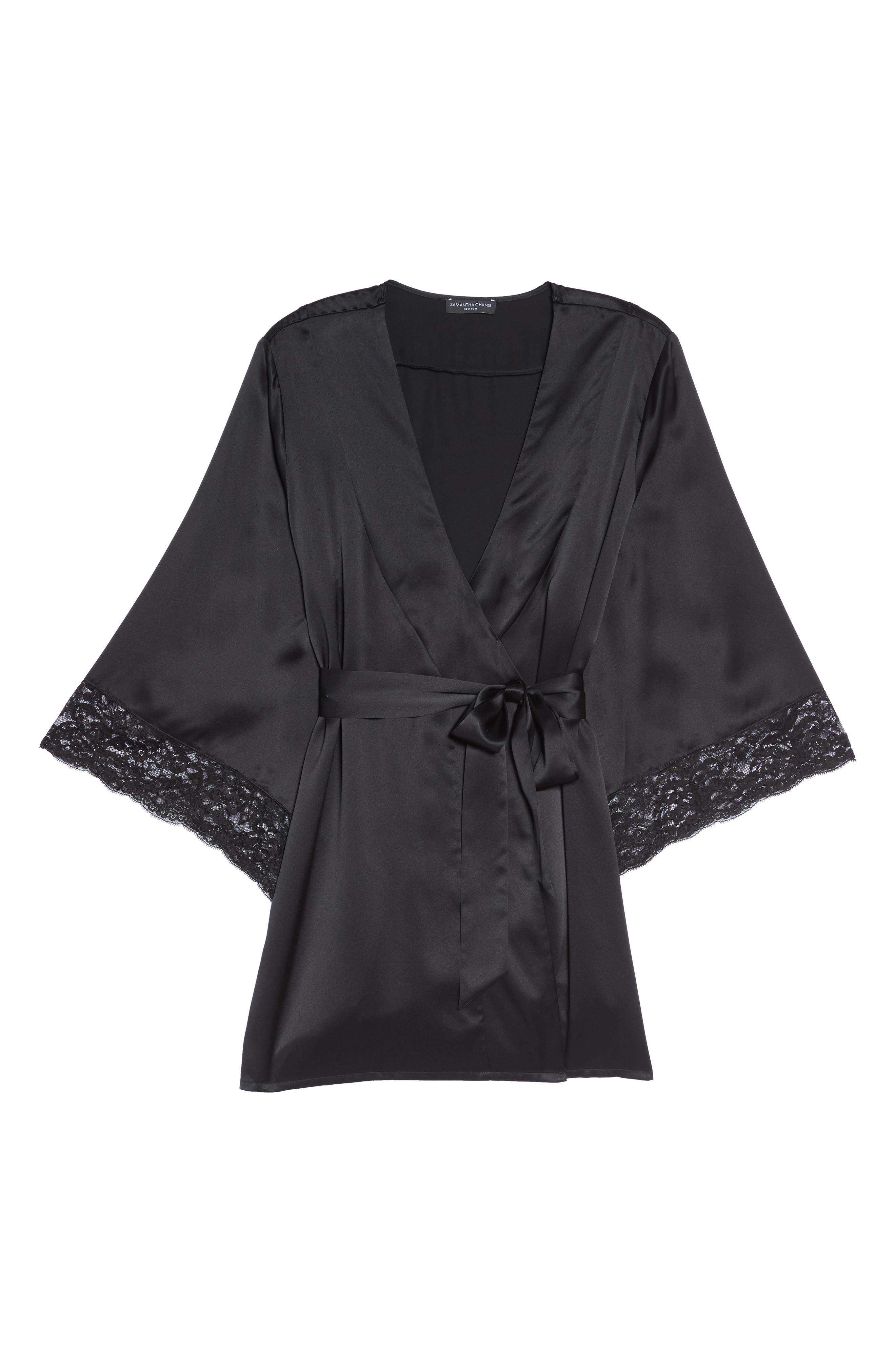 Yukata Lace & Silk Robe,                             Alternate thumbnail 6, color,                             BLACK