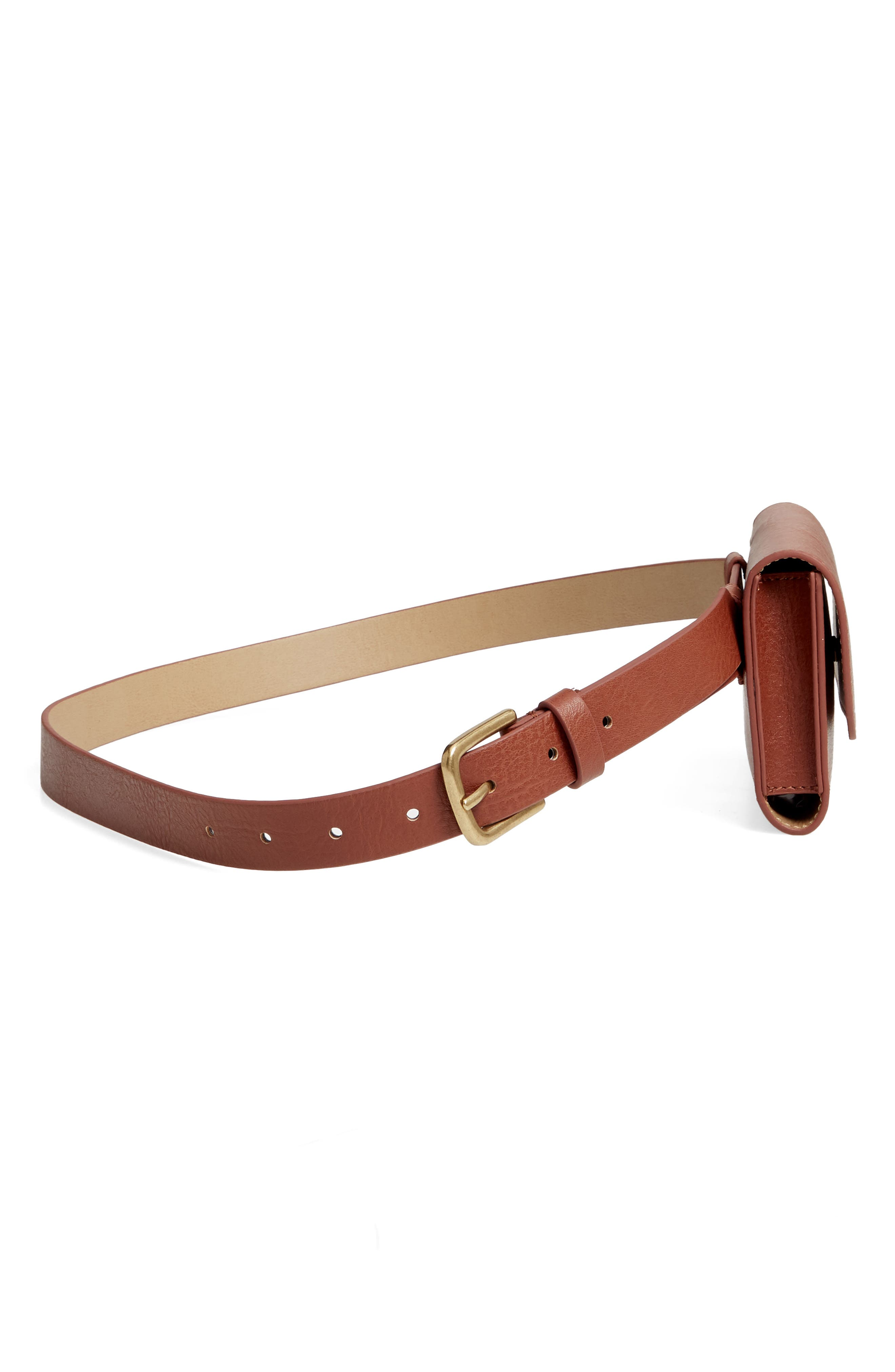 TREASURE & BOND,                             Faux Leather Belt Bag,                             Alternate thumbnail 6, color,                             COGNAC