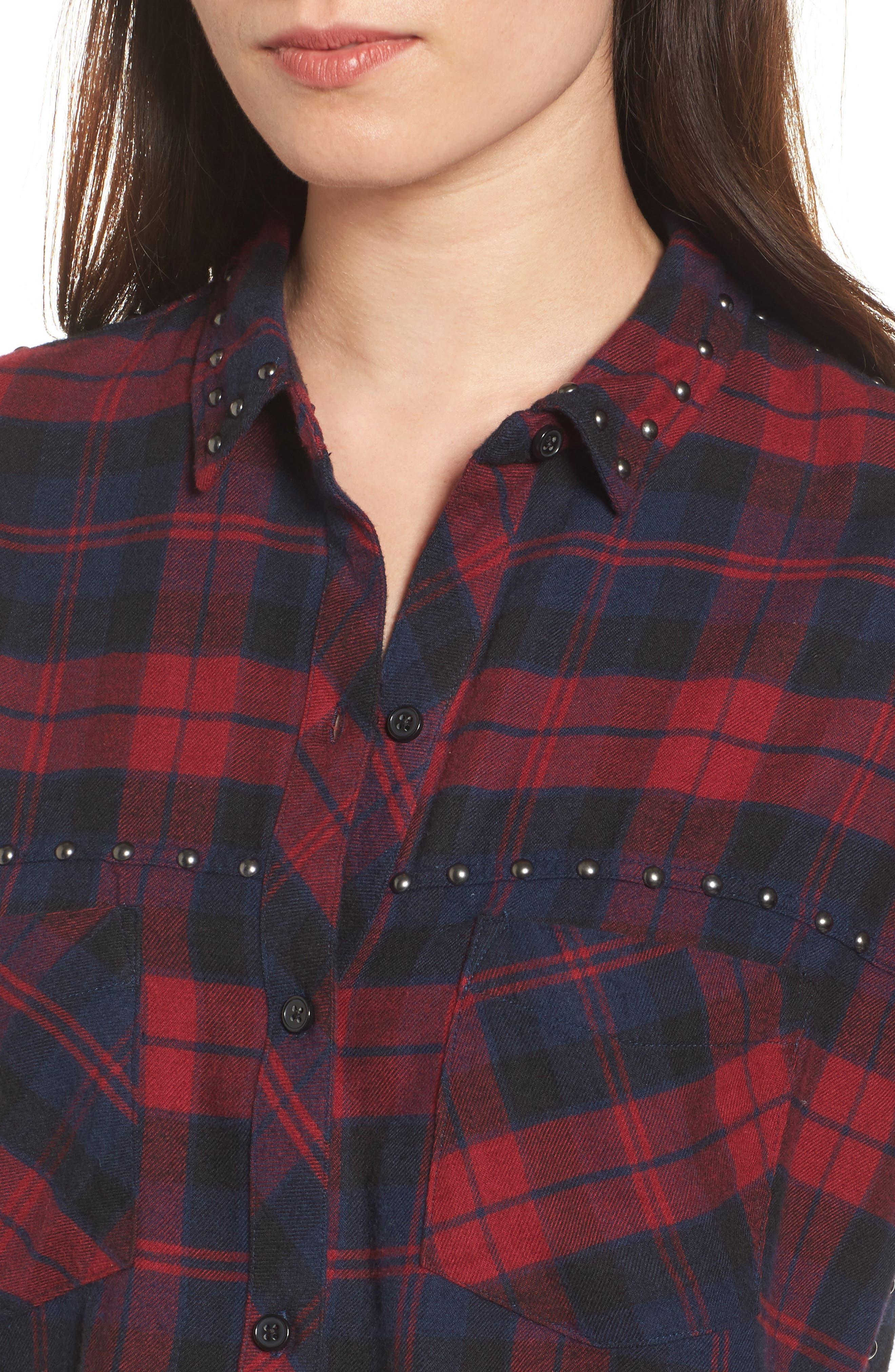Rex Studded Plaid Shirt,                             Alternate thumbnail 4, color,                             622