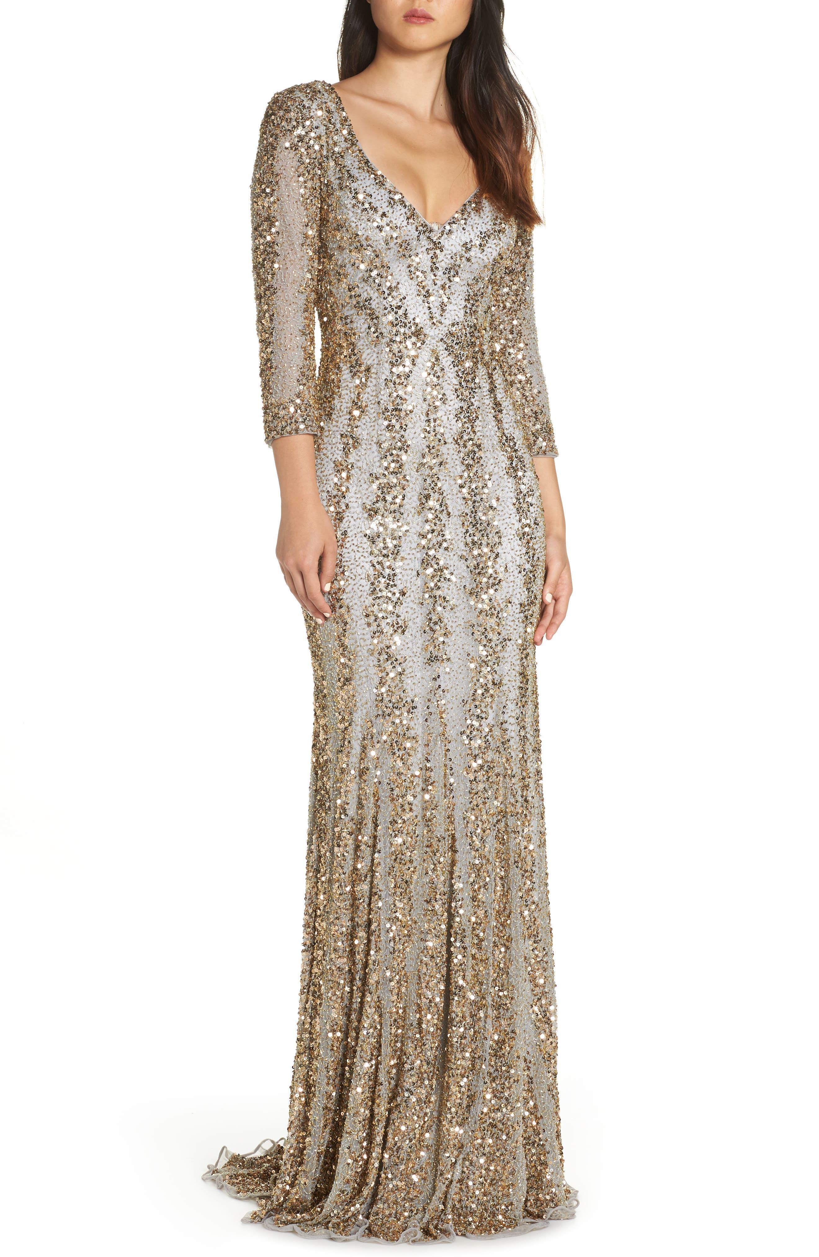 Sequin Gown,                             Main thumbnail 1, color,                             NUDE/ PLATINUM