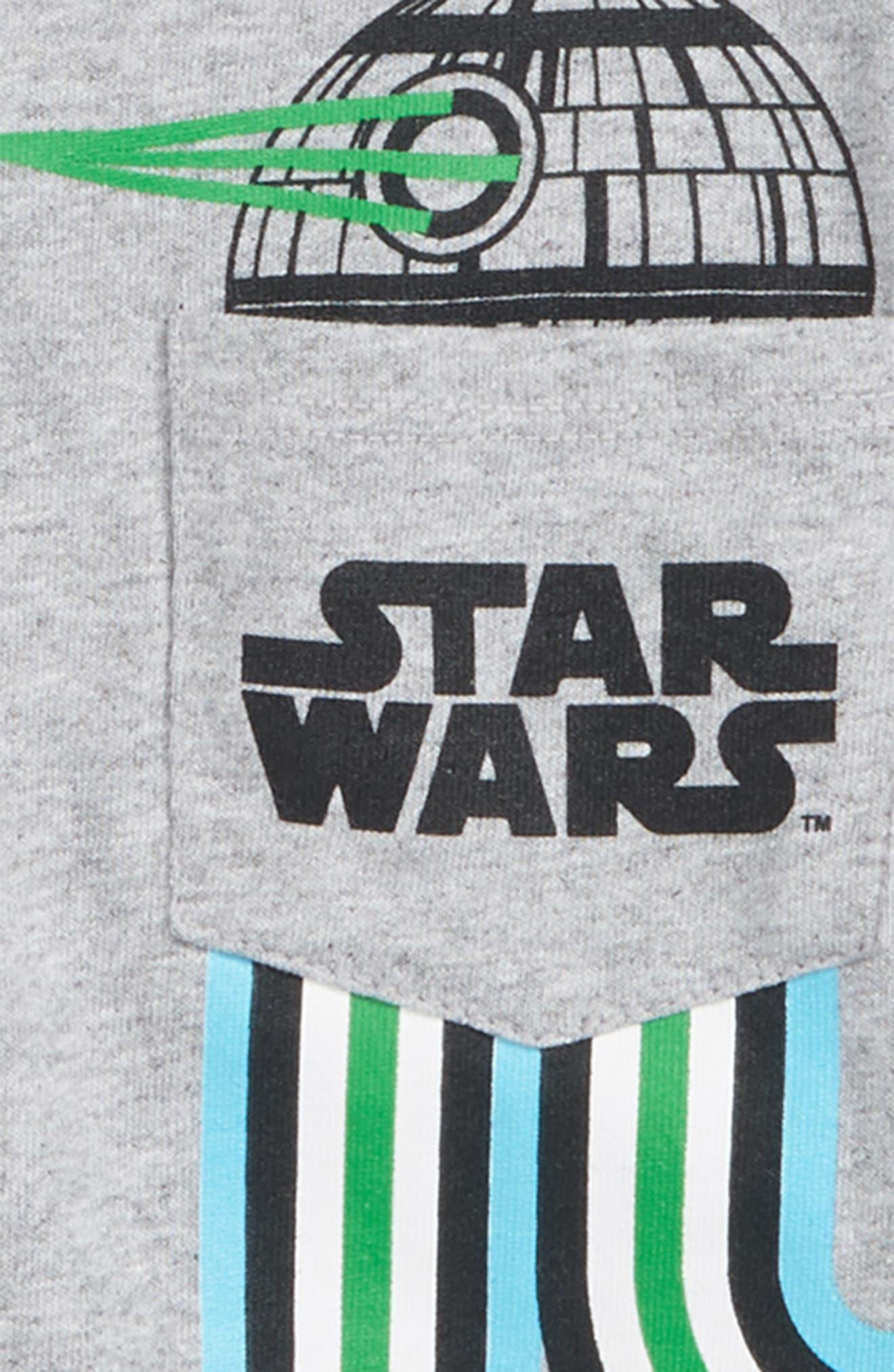 Star Wars Death Star Pocket T-Shirt,                             Alternate thumbnail 2, color,                             HEATHER GREY/ LIGHT BLUE