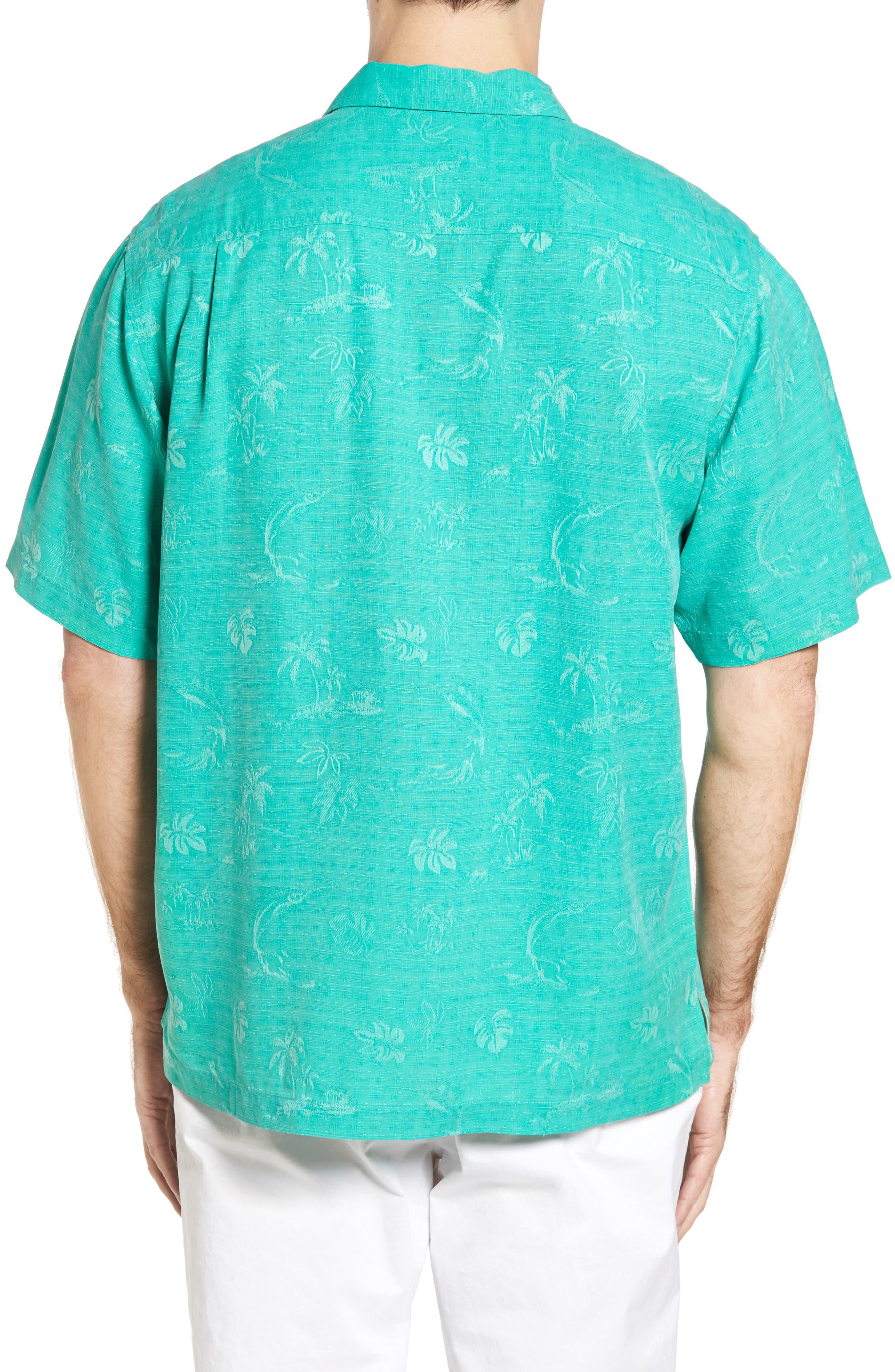 Gulf Shore Marlin Silk Camp Shirt,                             Alternate thumbnail 7, color,
