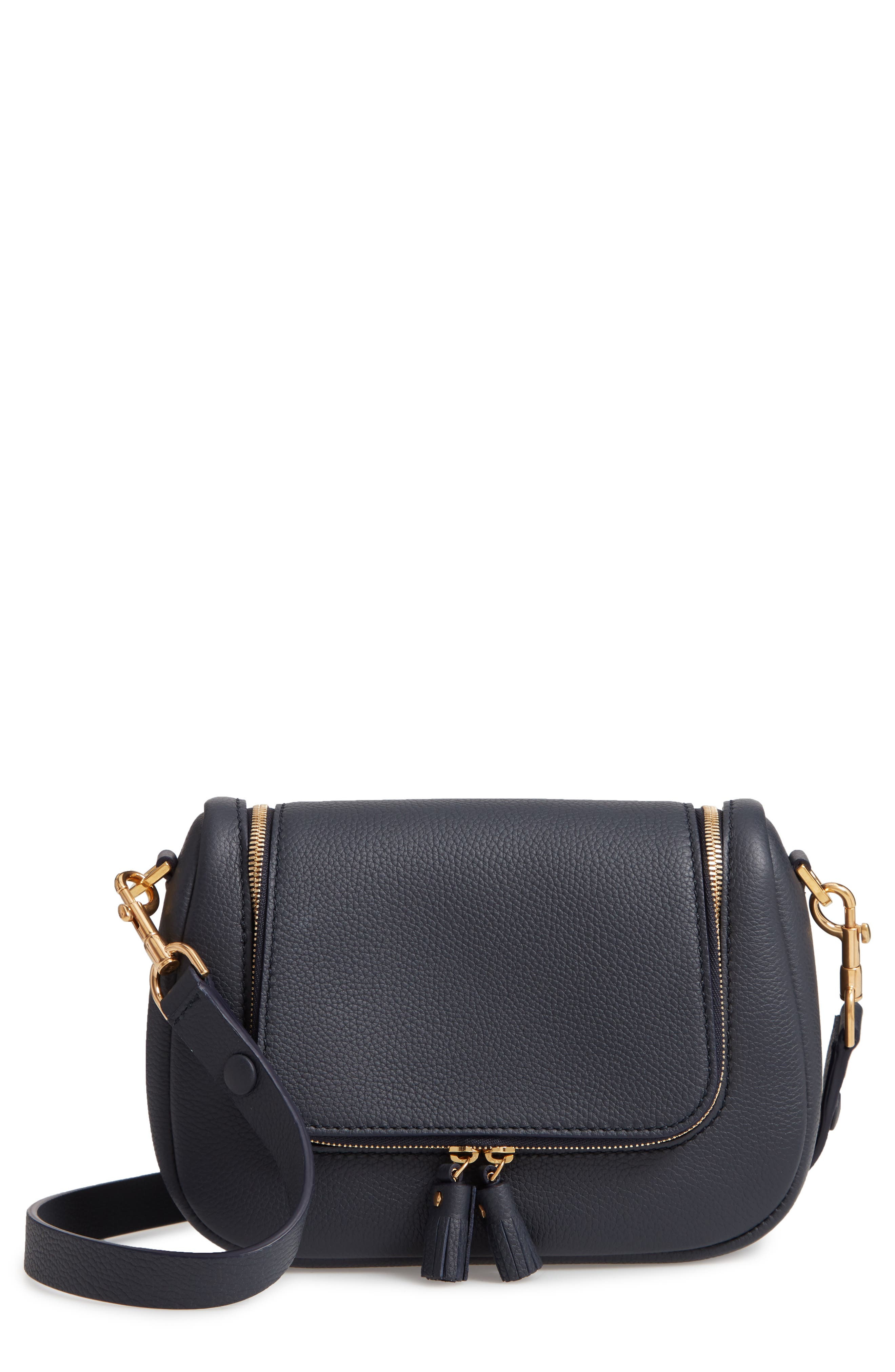 Small Vere Leather Crossbody Satchel - Blue in Marine