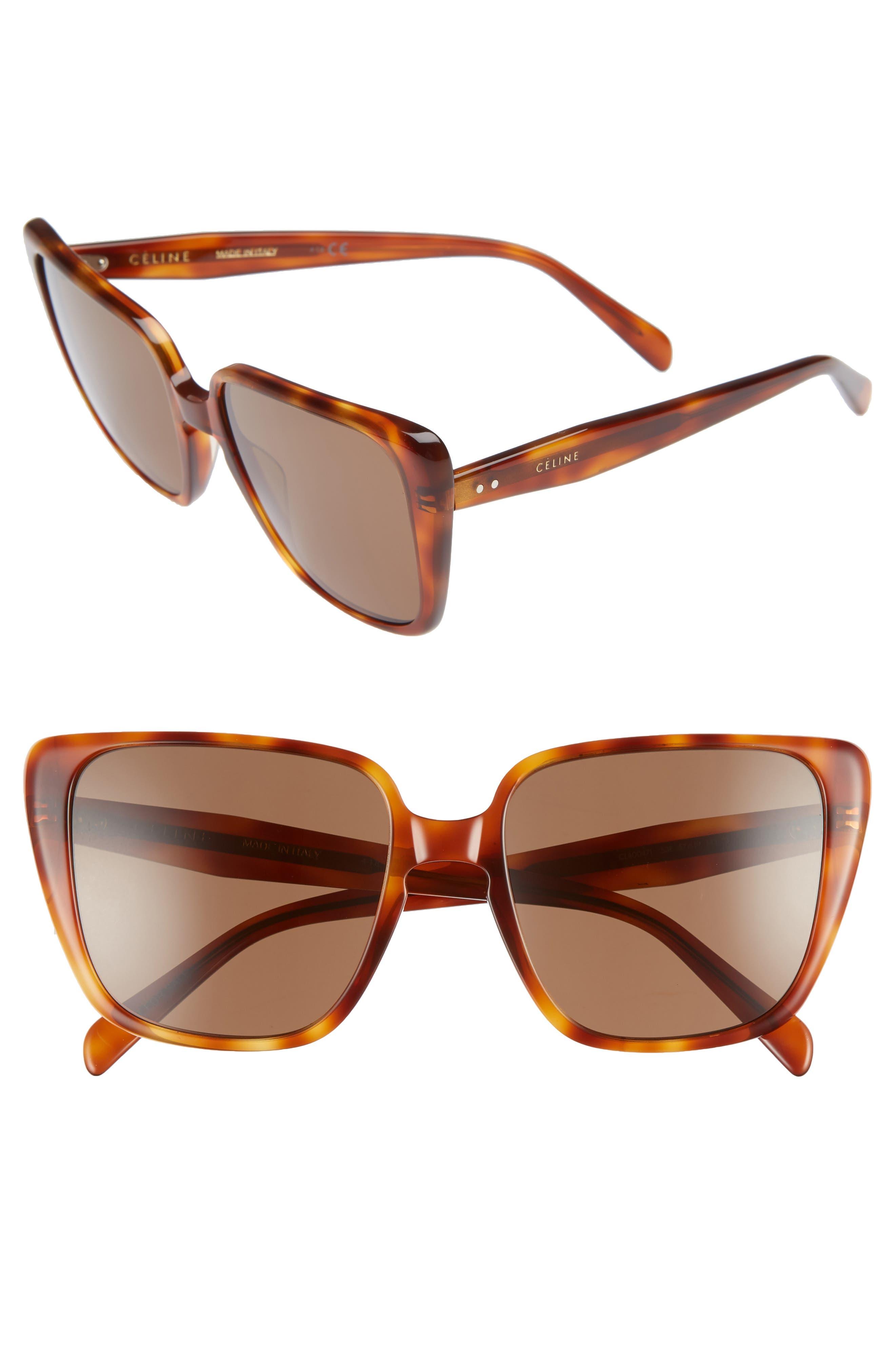 57Mm Modified Square Cat Eye Sunglasses - Blonde Havana