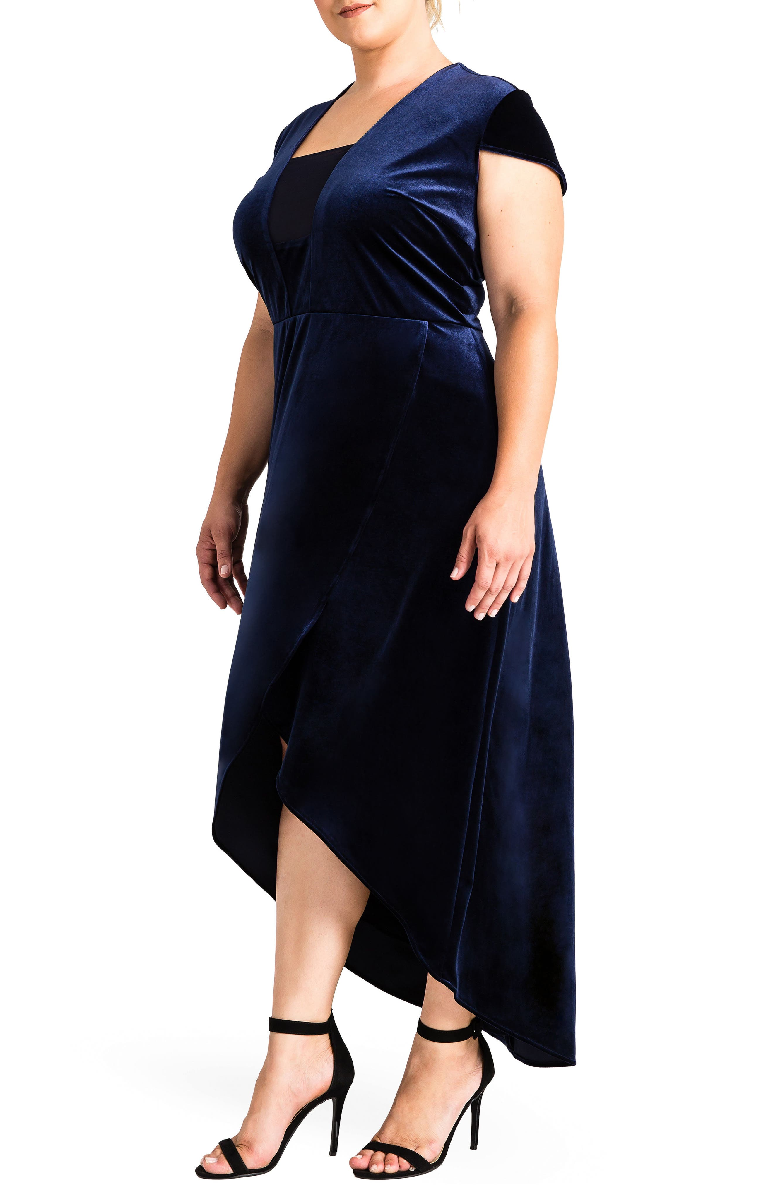 Luna Velvet Dress,                             Alternate thumbnail 3, color,                             410