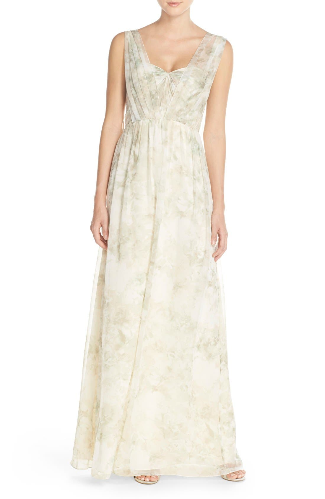 Nyla Floral Print Convertible Strapless Chiffon Gown,                             Alternate thumbnail 14, color,