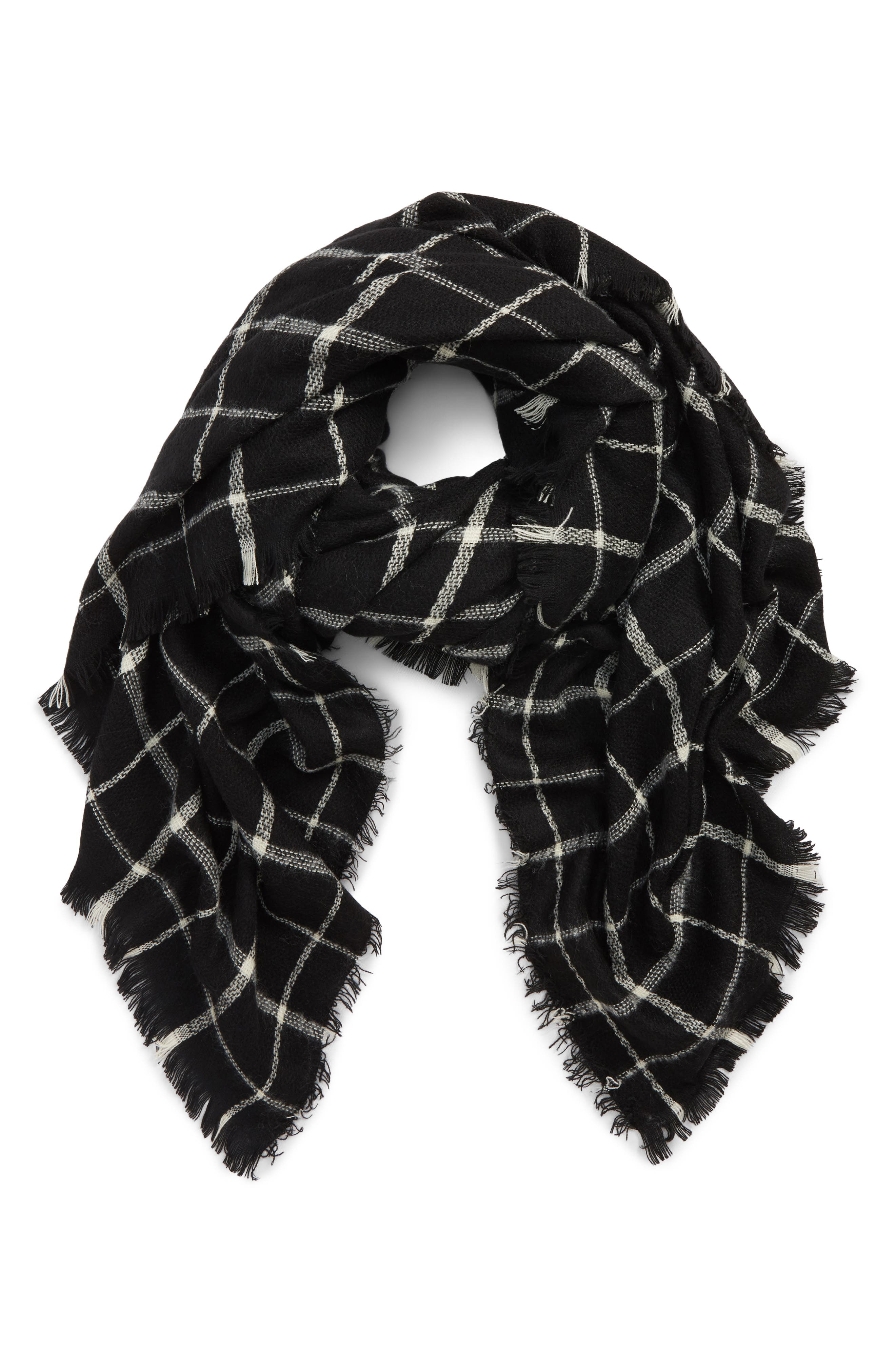 Check Scarf,                             Main thumbnail 1, color,                             BLACK/ IVORY