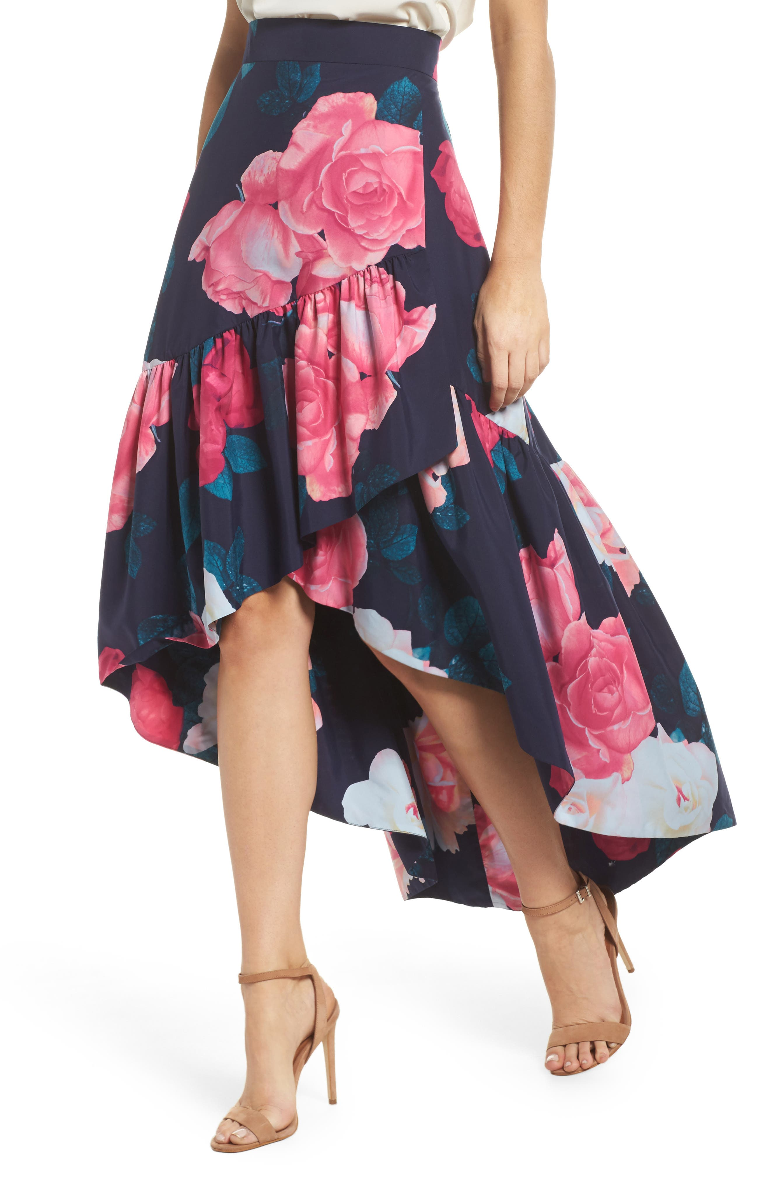 Faux Wrap High/Low Taffeta Skirt,                             Alternate thumbnail 4, color,                             401