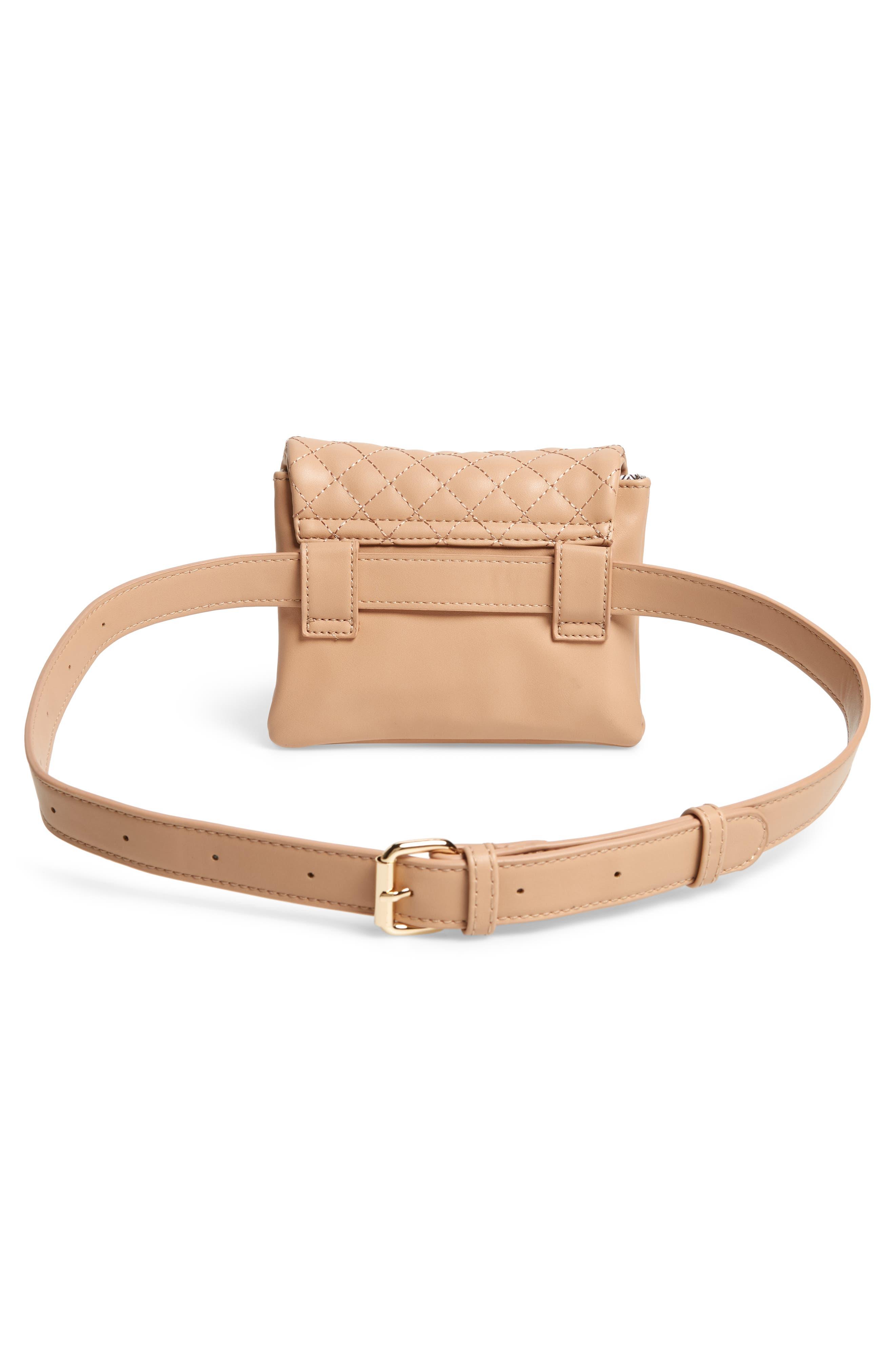 Mali + Lili Quilted Vegan Leather Belt Bag,                             Alternate thumbnail 5, color,                             CAMEL