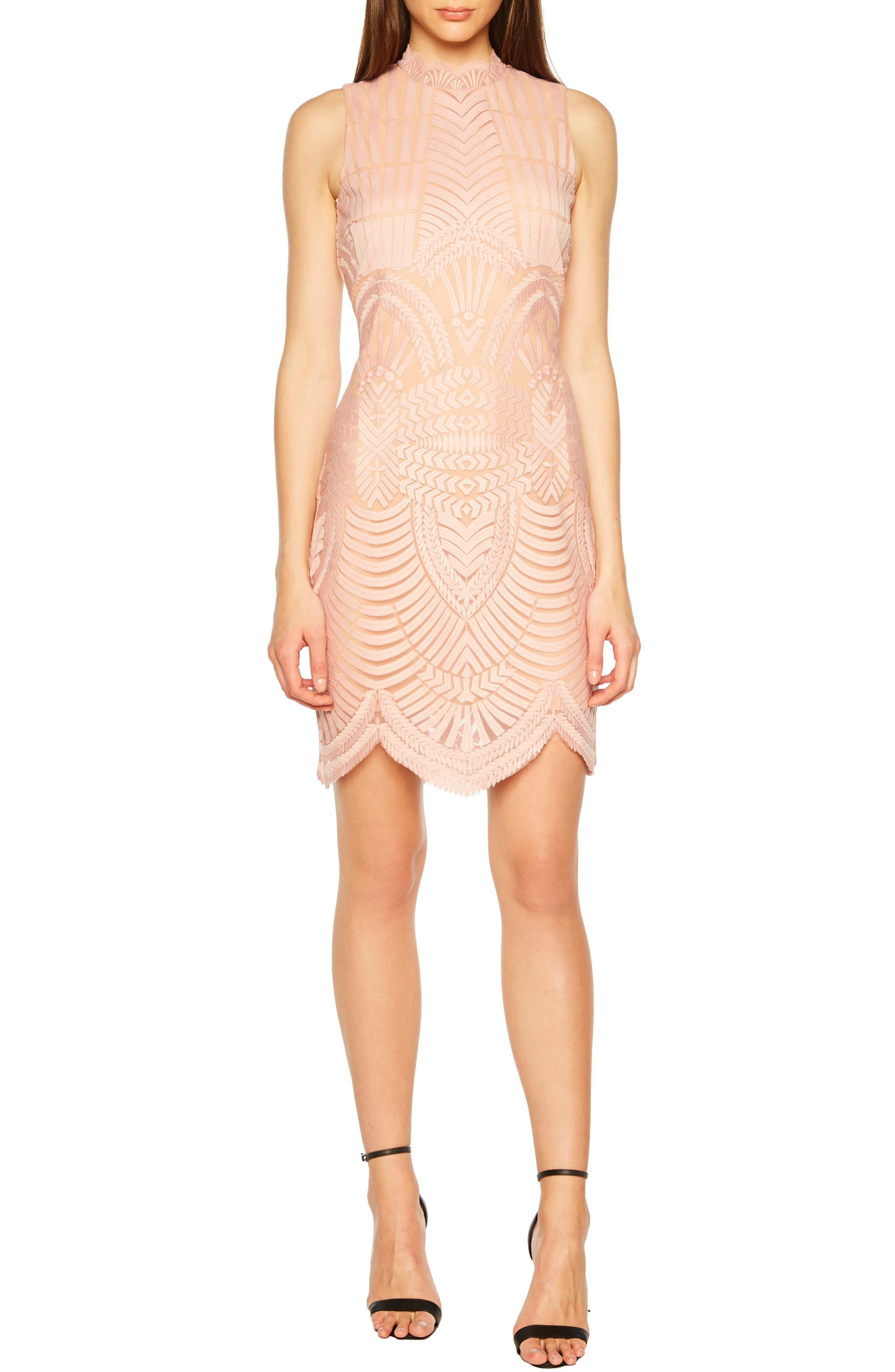 Bardot Alice Lace Body-Con Dress, Pink