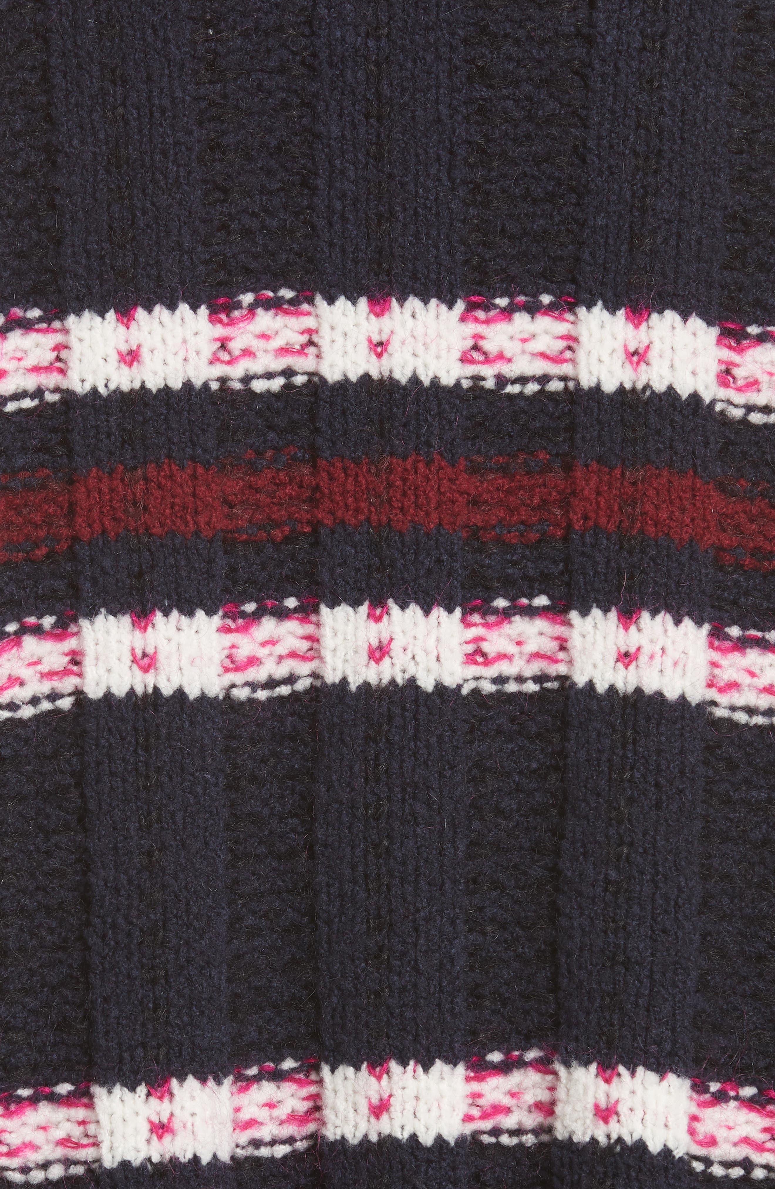 Zaira Stripe Turtleneck Sweater,                             Alternate thumbnail 5, color,                             001