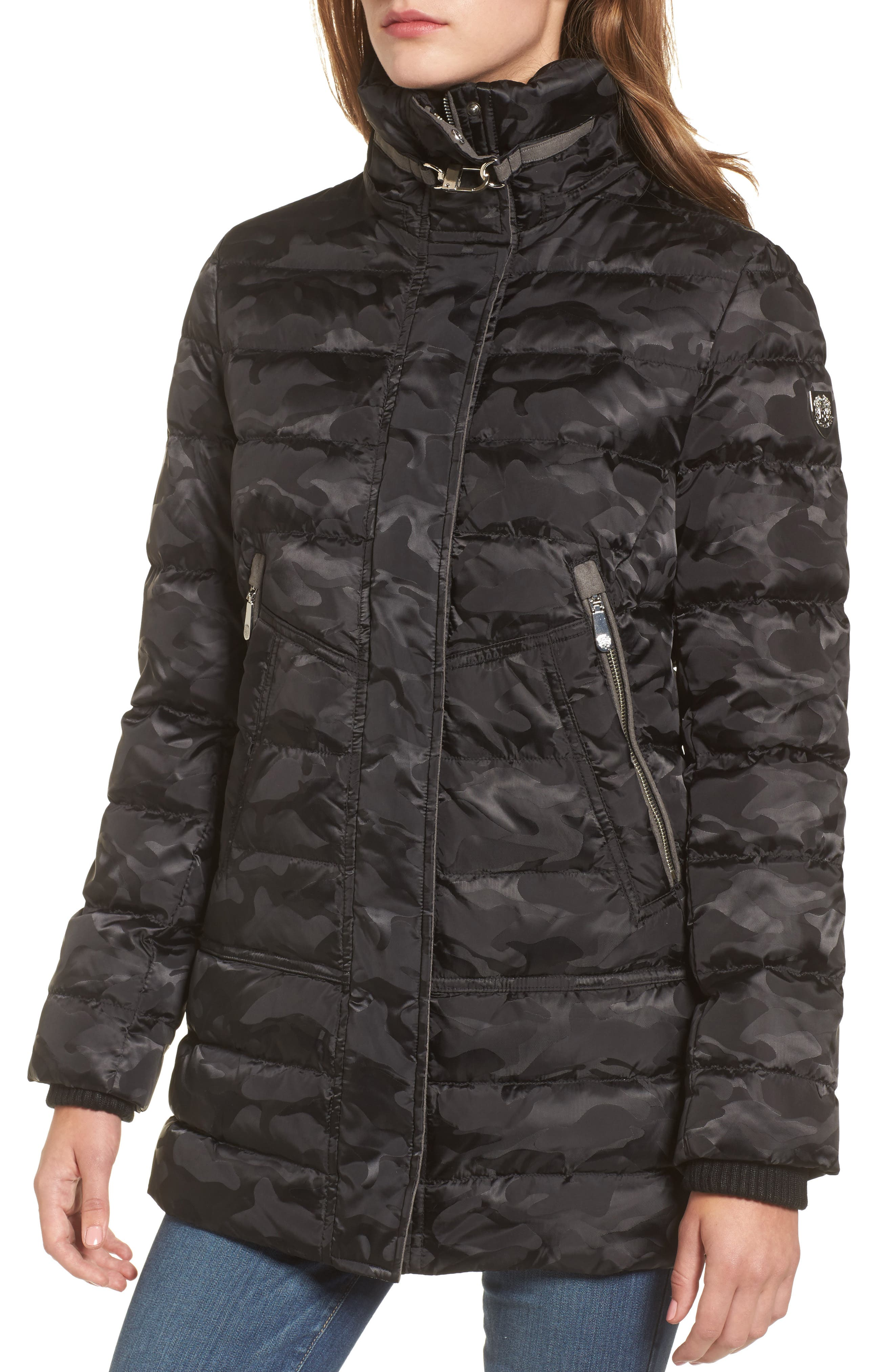 Quilted Coat with Faux Fur Trim Hood,                             Alternate thumbnail 4, color,                             016