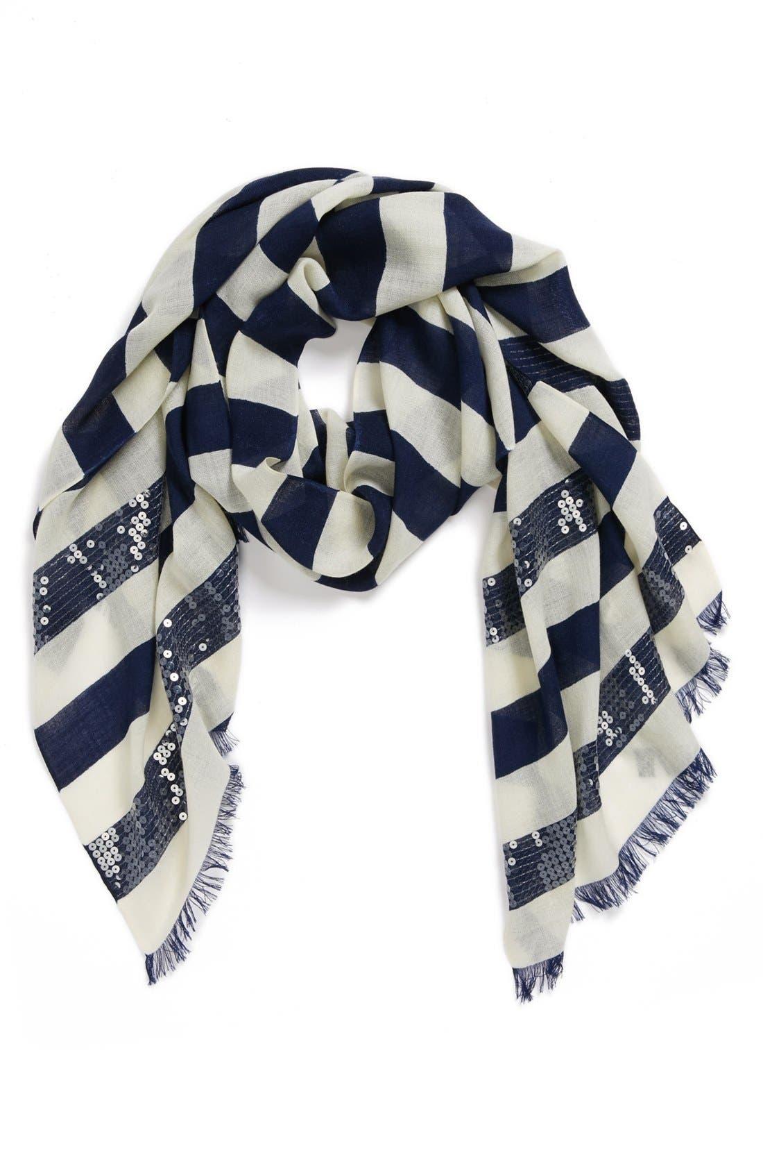sequin embellished stripe scarf,                         Main,                         color, 400