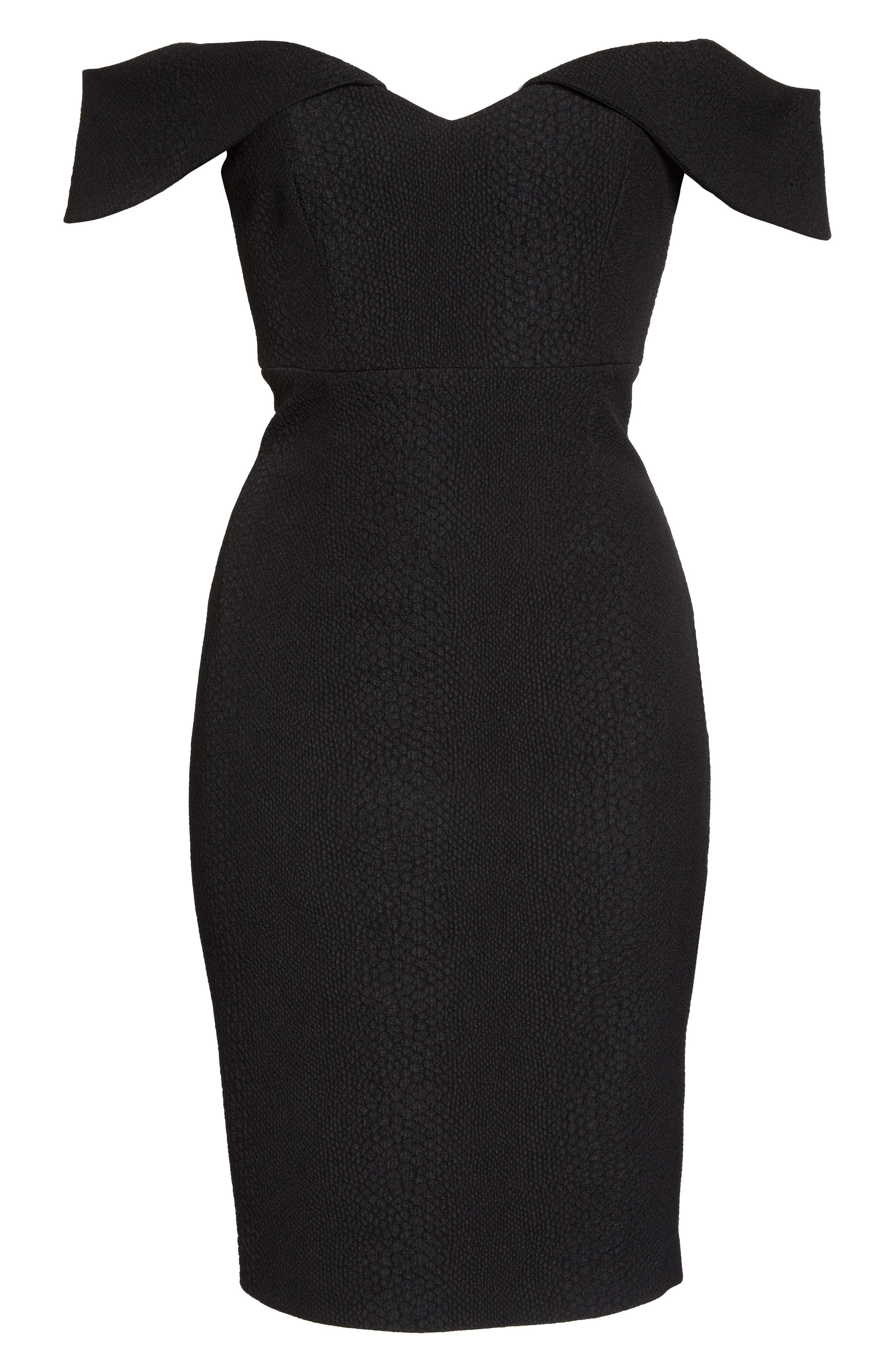 Eva Off the Shoulder Body-Con Dress,                             Alternate thumbnail 6, color,                             001