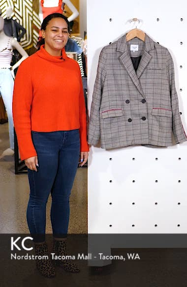 Chriselle Lim Bianca Piped Houndstooth Blazer, sales video thumbnail