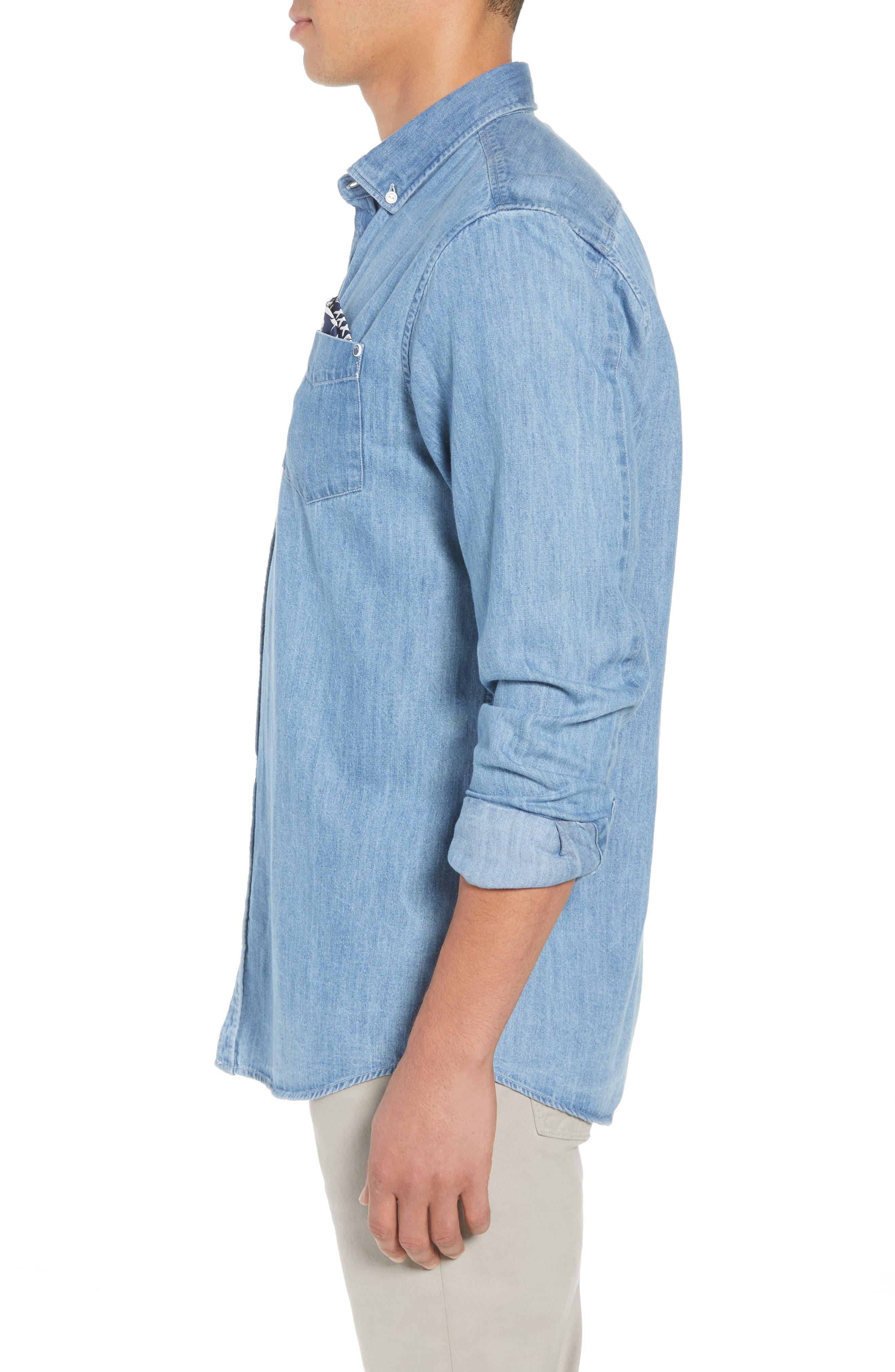 Amsterdams Blauw Pocket Square Chambray Sport Shirt,                             Alternate thumbnail 3, color,                             DENIM BLUE