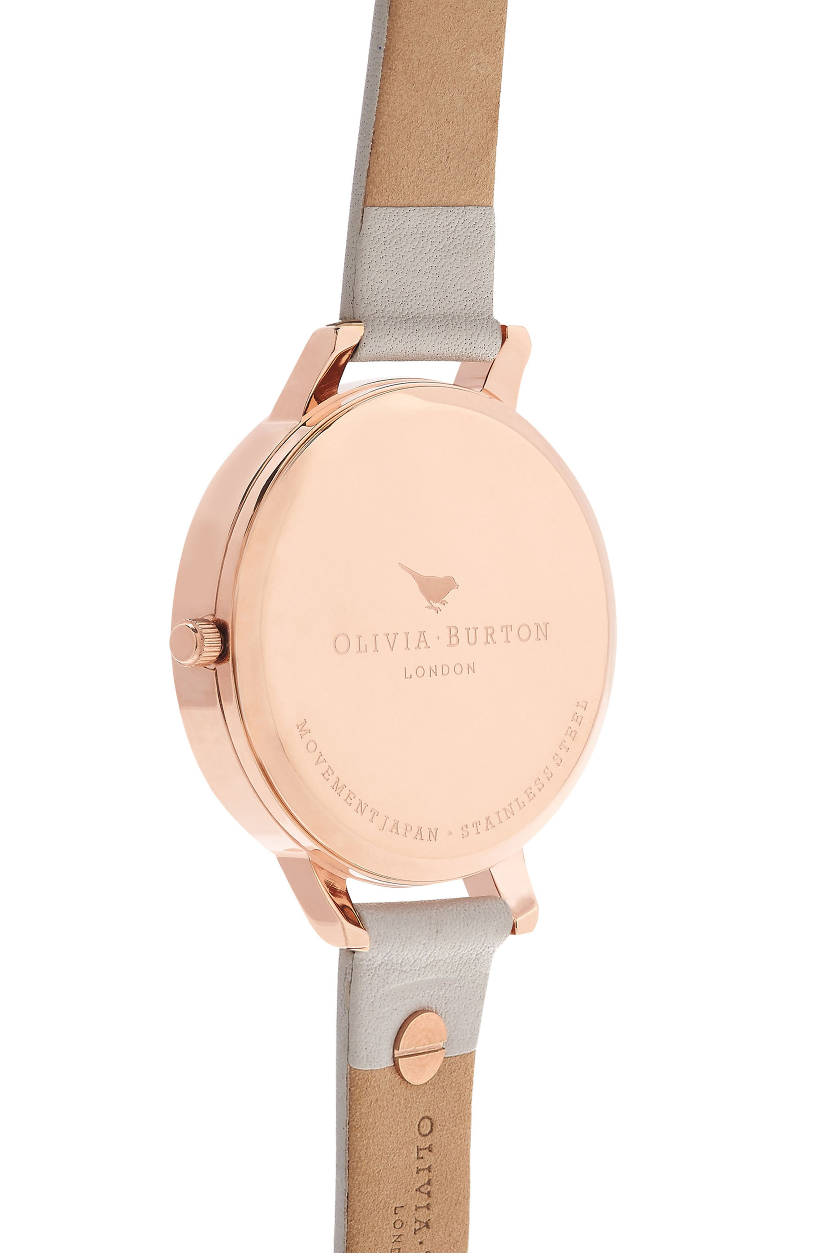 3D Bee Leather Strap Watch, 38mm,                             Alternate thumbnail 2, color,                             BLUSH/ WHITE/ ROSE GOLD