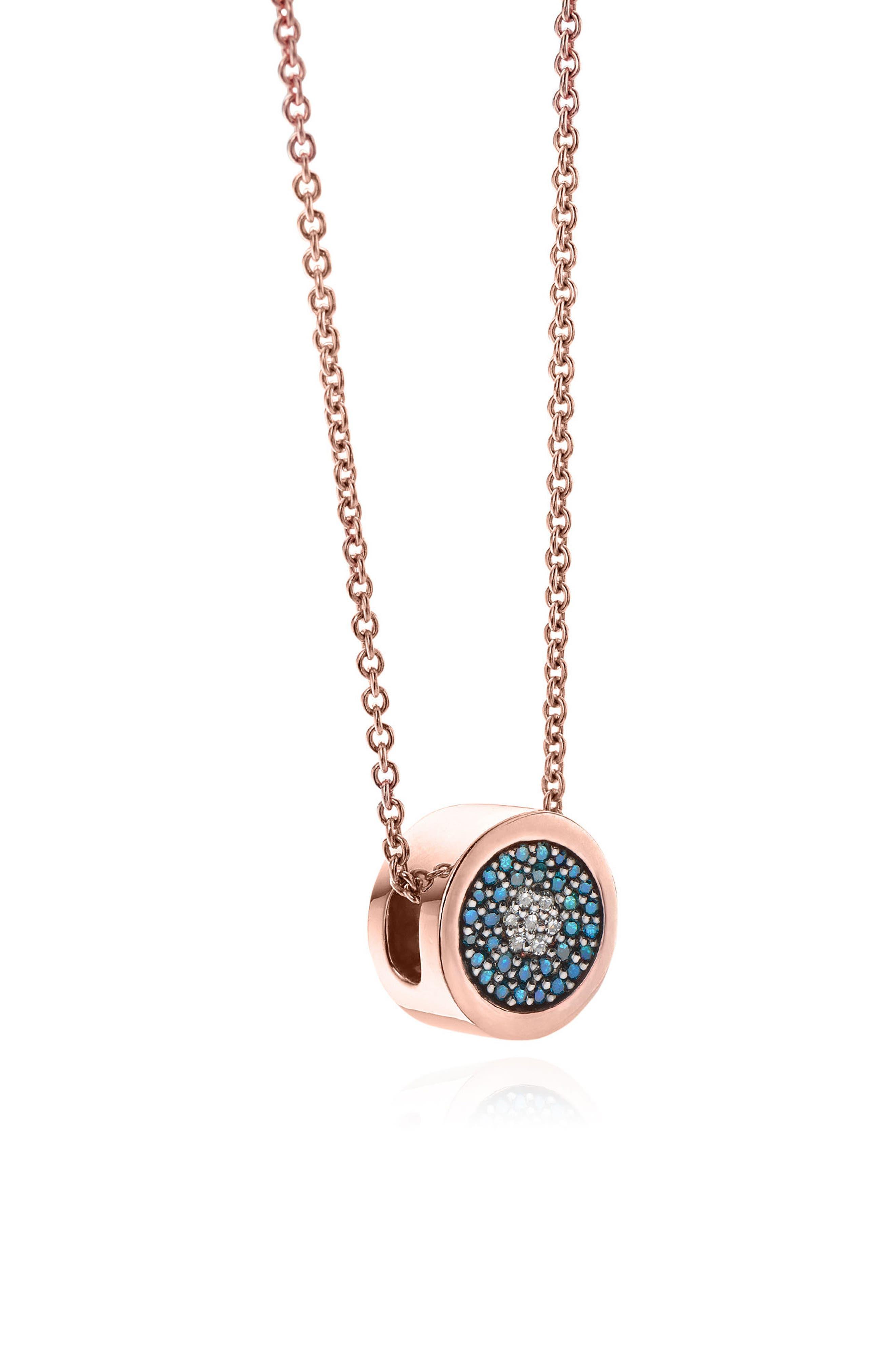 MONICA VINADER,                             Evil Eye Diamond Pendant Necklace,                             Alternate thumbnail 3, color,                             ROSE GOLD/ DIAMOND