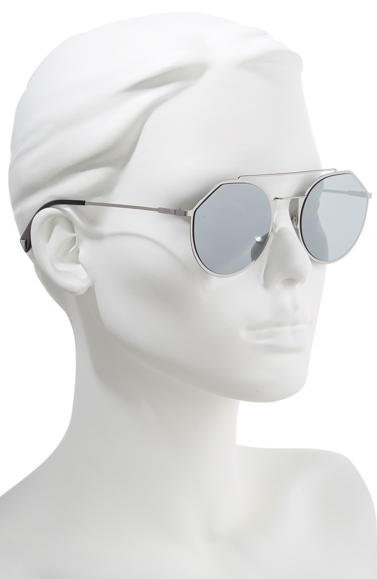 54mm Round Sunglasses,                             Alternate thumbnail 2, color,                             RUTHENIUM