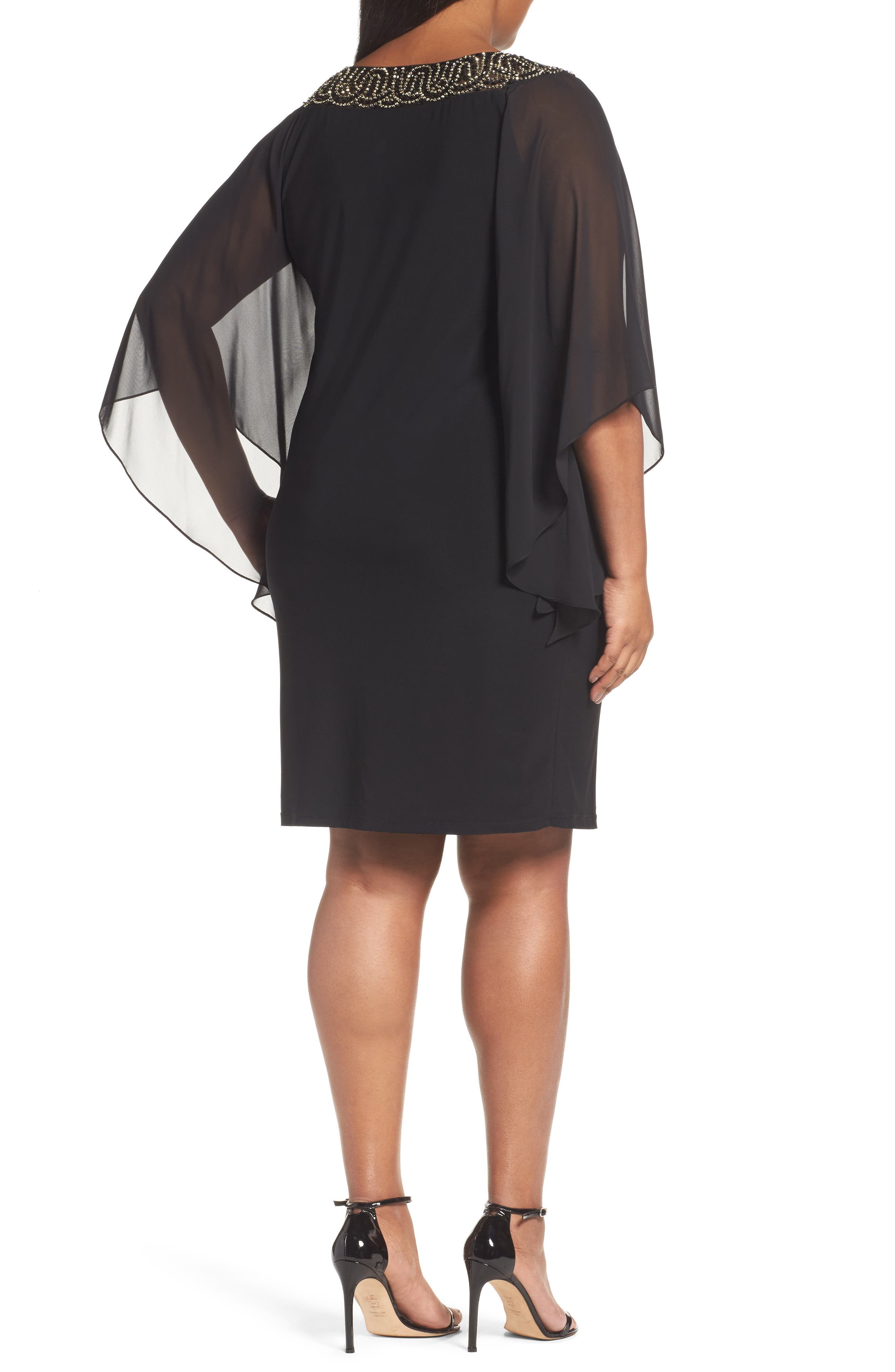 Beaded Chiffon Sleeve Sheath Dress,                             Alternate thumbnail 2, color,                             010