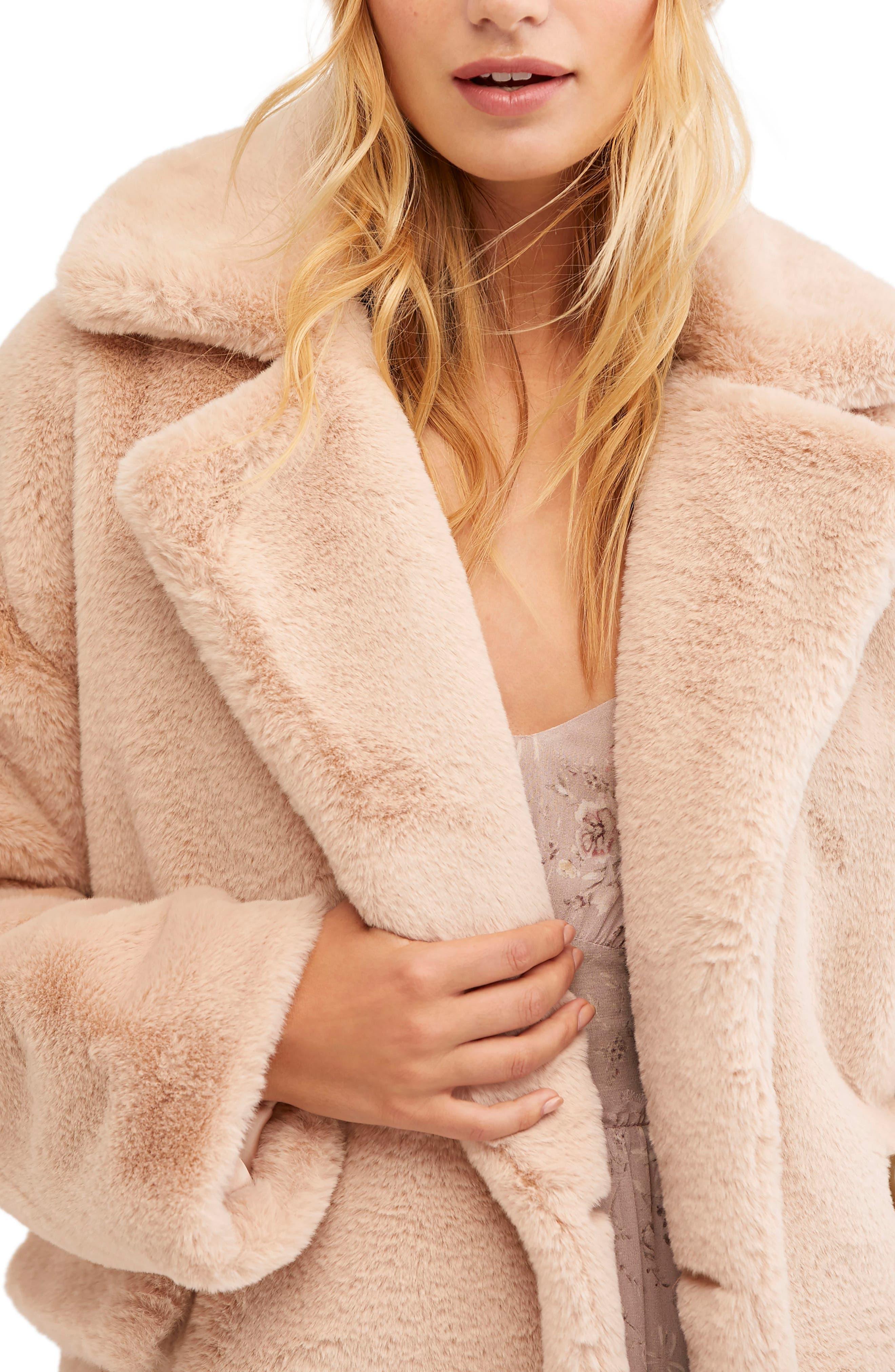 Kate Faux Fur Coat,                             Alternate thumbnail 3, color,                             ROSE