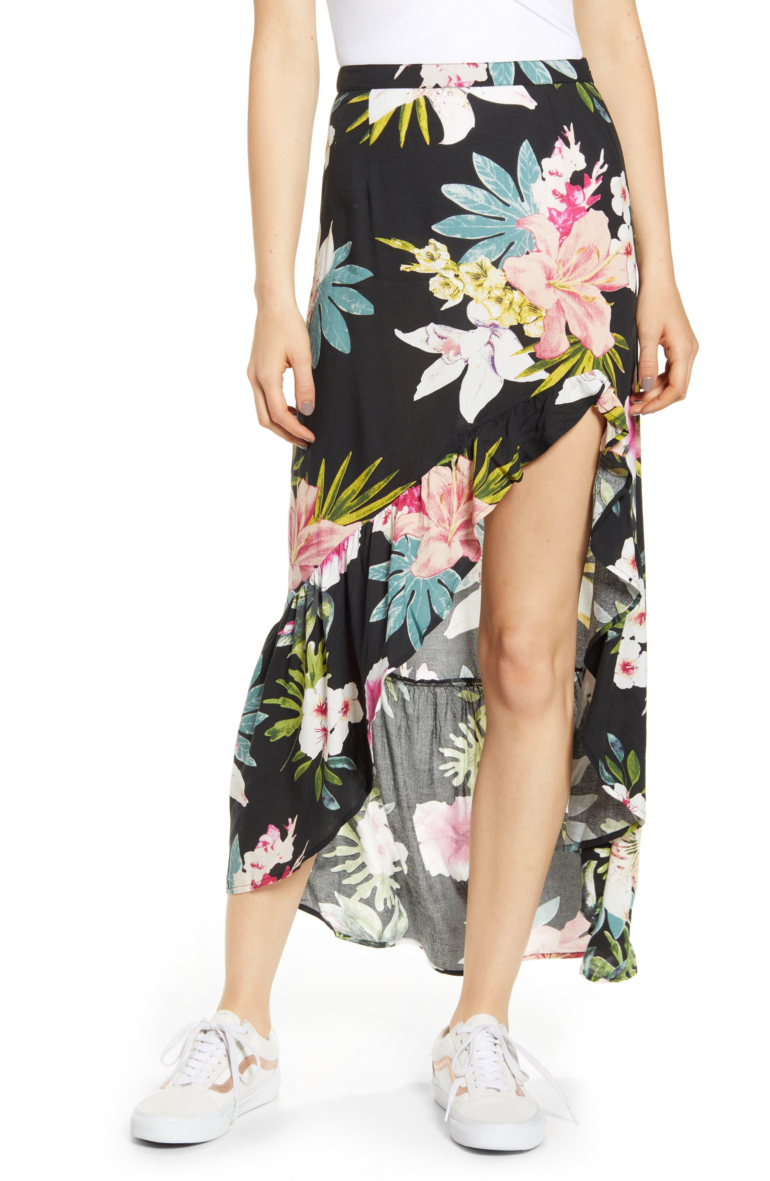 Rip Curl Sweet Aloha Floral Print Maxi Skirt, Black