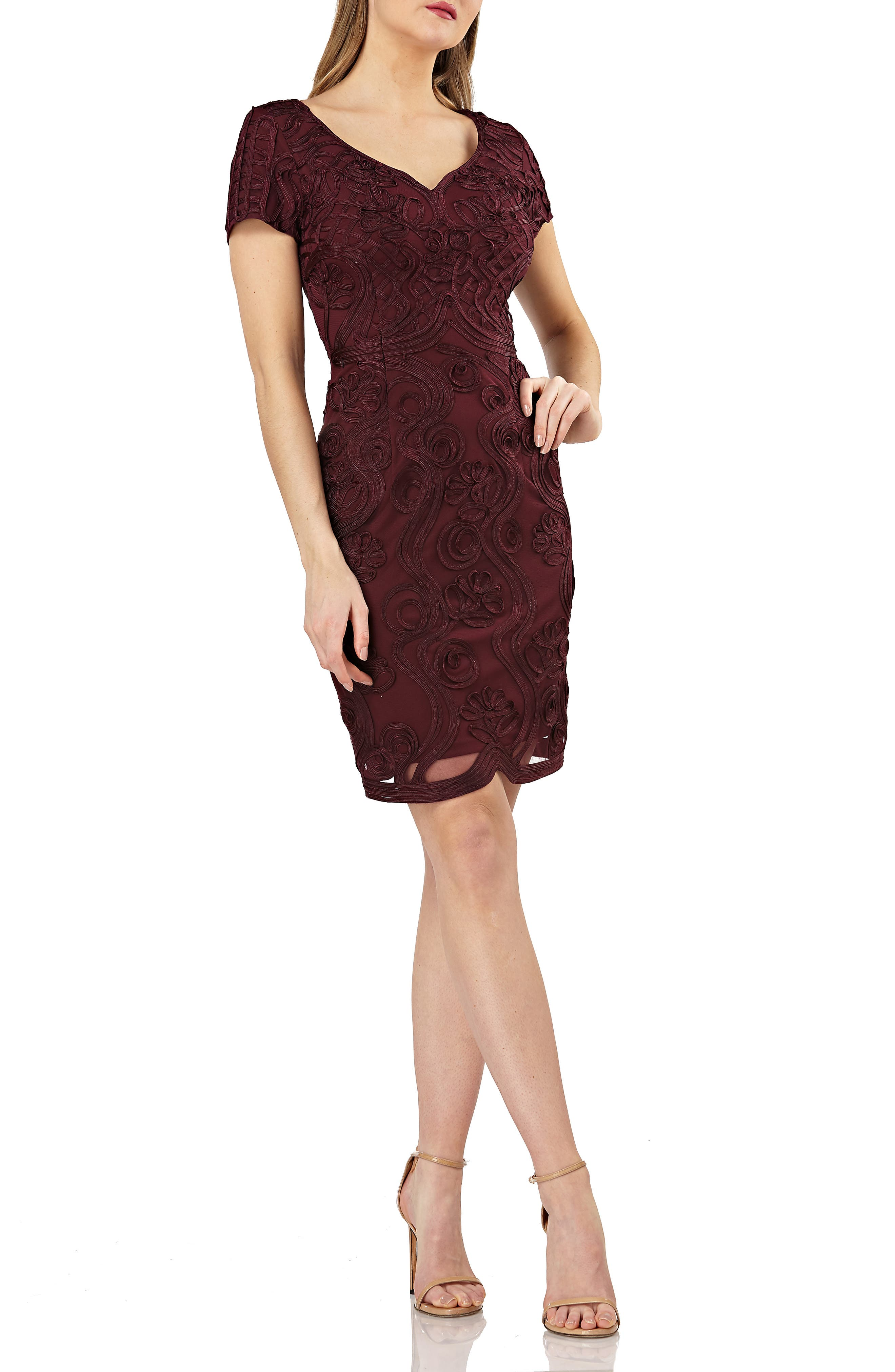 Js Collections Soutache Mesh Sheath Dress, Burgundy
