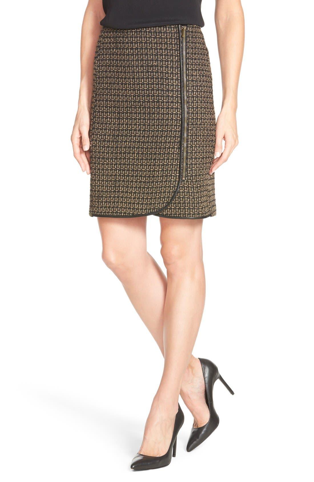 Tweed FauxWrap Pencil Skirt,                             Main thumbnail 1, color,                             200