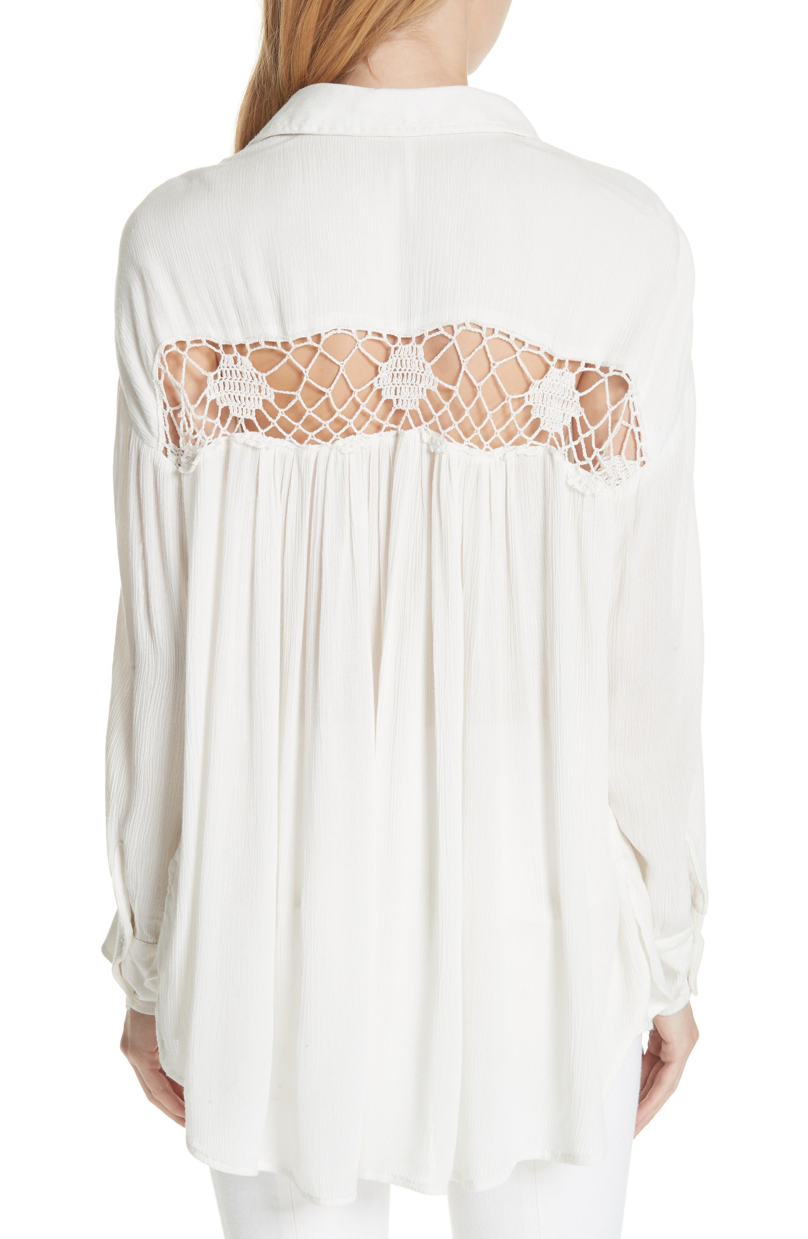 Katie Bird Crochet Inset Shirt,                             Alternate thumbnail 6, color,