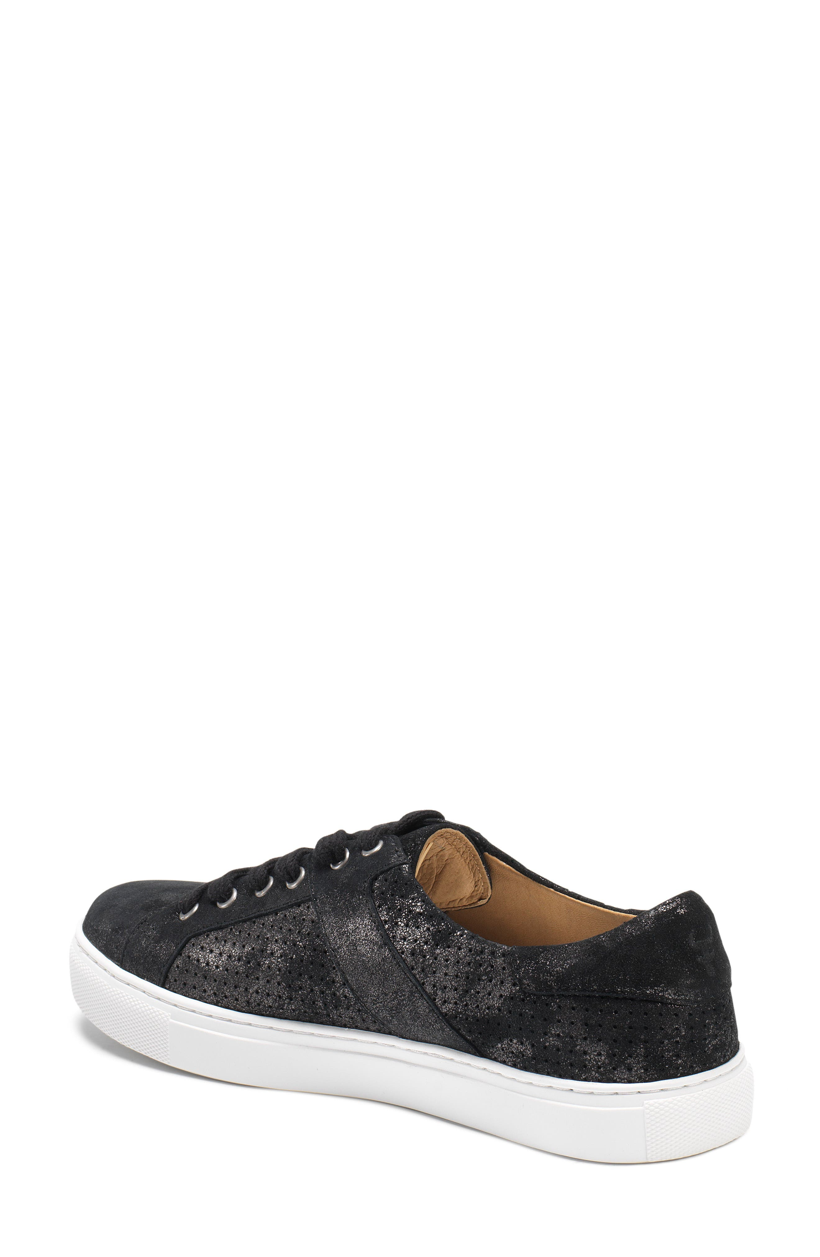 Lindsey Sneaker,                             Alternate thumbnail 2, color,                             BLACK METALLIC LEATHER